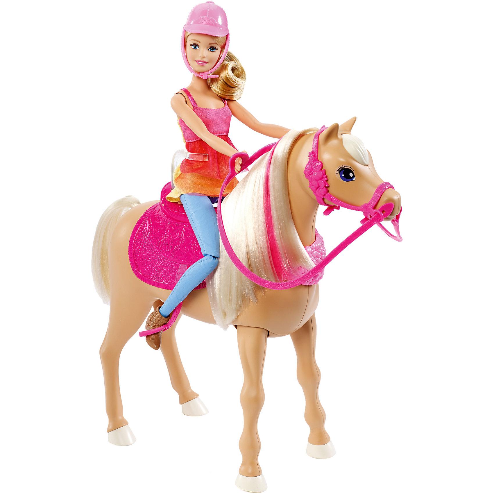 Barbie и танцующая лошадкаBarbie<br>Barbie и танцующая лошадка - чудесный игровой набор, который вызовет восторг у Вашей девочки, поклонницы кукол Barbie.<br>Кукла Барби и ее лошадка танцуют вместе! Помнишь финальную сцену из мультфильма «Barbie и сестры: охота за щенками»? Лошадка может проигрывать три разные мелодии и танцевать. Поставь Барби рядом с лошадкой или посади куклу верхом, нажми кнопочку, спрятанную в гриве лошадки, и смотри, как они двигаются в такт музыки. Лошадка также может танцевать одна.<br><br>Дополнительная информация:<br><br>- В наборе: кукла Barbie с нарядом и аксессуарами (включая шлем), танцующая лошадка с розовым седлом (не снимается), ошейником, уздечкой, поводьями<br>- Кукла не может стоять или танцевать самостоятельно<br>- Цвета и украшения могут отличаться<br>- Материал: пластик, текстиль<br>- Батарейки: 4 типа AAA (в комплект не входят)<br>- Размер упаковки: 11,5х45,5х32,5 см.<br>- Вес: 1,134 кг.<br><br>Игровой набор Barbie и танцующая лошадка можно купить в нашем интернет-магазине.<br><br>Ширина мм: 115<br>Глубина мм: 455<br>Высота мм: 325<br>Вес г: 1134<br>Возраст от месяцев: 36<br>Возраст до месяцев: 120<br>Пол: Женский<br>Возраст: Детский<br>SKU: 4865287