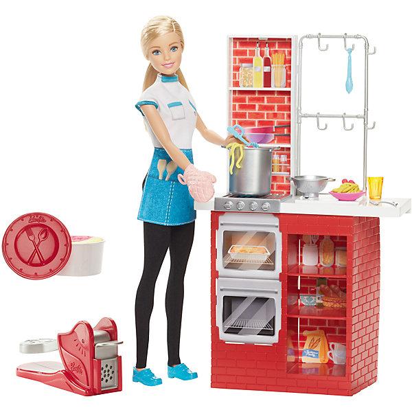 Игровой набор Шеф итальянской  кухни с куклой, BarbieМебель для кукол<br>Игровой набор Шеф итальянской  кухни с куклой, Barbie - чудесный набор, который вызовет восторгу у Вашей девочки, поклонницы кукол Barbie.<br>Игровой набор Barbie позволит тебе примерить на себя новую профессию! Как насчет шефа итальянской кухни? Кукла Барби выглядит как настоящий шеф-повар. На ней белая кофточка, голубой фартук с кармашками, черные брюки, на ногах – удобные голубые туфли, в руках – прихватка. Барби предстоит приготовить на обед спагетти и фрикадельки. Для этого в игровом наборе предусмотрены необходимые аксессуары: пластилин, специальный инструмент для изготовления спагетти (паста-машина), большая кастрюля, форма для запекания, плита с духовым шкафом, столовые приборы. Для хранения аксессуаров имеется множество удобных полок и крючки. Для реализма в игровые элементы включены бутылки с соком, стаканчики и блендер.<br><br>Дополнительная информация:<br><br>- В наборе: кукла Barbie, кухонная стойка, тематические принадлежности, пластилин 2 цветов, аксессуары<br>- Кукле требуется подставка<br>- Цвета и украшения могут отличаться<br>- Материл: пластик, текстиль<br>- Размер упаковки: 7,5х33х32,5 см.<br>- Вес: 870 гр.<br><br>Игровой набор Шеф итальянской  кухни с куклой, Barbie можно купить в нашем интернет-магазине.<br><br>Ширина мм: 75<br>Глубина мм: 330<br>Высота мм: 325<br>Вес г: 807<br>Возраст от месяцев: 36<br>Возраст до месяцев: 120<br>Пол: Женский<br>Возраст: Детский<br>SKU: 4865288