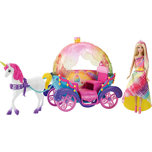 Радужная карета и кукла, BarbieТранспорт и коляски для кукол<br>Радужная карета и кукла, Barbie - чудесный игровой набор, который вызовет восторгу у Вашей девочки, поклонницы кукол Barbie.<br>Длинноволосая блондинка, красавица кукла Барби отправляется в волшебное путешествие на сказочной карете, запряженной единорогом! Крыша кареты словно сделана из радуги – нежные цвета и прозрачный пластик подчеркивают его оригинальный вид. Крыша кареты откидная - можно совершать прогулки и летний жаркий день и наслаждаться теплом солнечных лучей, а можно поднять верх, если ночи в игре холодные. Яркие цвета, проворачивающиеся колеса и прочие детали означают сказочное веселье. Барби, как всегда, выглядит просто превосходно - радужное платье сочетается с расцветкой кареты, длинные белокурые волосы с розовыми прядями украшает изящная диадема, элегантный макияж подчеркивает ее естественную красоту. Очаровательный белоснежный единорог с розовой гривой также выглядит очень мило. Отправляйся навстречу приключениям, открывай новые сказочные королевства и создавай счастливый финал любой сказки!<br><br>Дополнительная информация:<br><br>- В наборе: кукла Barbie с нарядом и аксессуарами, радужная карета на прокручивающихся колесах, единорог с уздечкой и поводьями<br>- Карета вмещает до двух кукол Barbie (в комплект входит только одна)<br>- Кукле требуется подставка<br>- Цвета и украшения могут отличаться<br>- Материл: пластик, текстиль<br>- Размер упаковки: 19х56х32,5 см.<br>- Вес: 2,19 кг.<br><br>Игровой набор Радужная карета и кукла, Barbie можно купить в нашем интернет-магазине.<br>Ширина мм: 190; Глубина мм: 560; Высота мм: 325; Вес г: 2190; Возраст от месяцев: 36; Возраст до месяцев: 120; Пол: Женский; Возраст: Детский; SKU: 4865293;