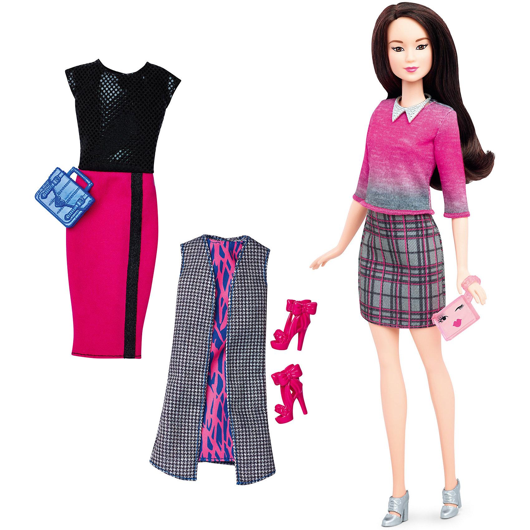 Кукла + набор одежды, BarbieBarbie<br>Кукла + набор одежды, Barbie - потрясающая игрушка от компании Mattel.<br>Такая куколка непременно привлечет внимание Вашей девочки.  Красавица Барби имеет светлую кожу и длинные прямые волосы каштанового цвета, которые так легко расчесывать и укладывать в разные прически. В наборе представлен повседневный образ в виде клетчатой юбки - карандаш и ярким свитером, романтичный - малиновое платье с длинным жакетом и вечерний - платье с яркой юбкой и верхом в пайетках.  Голова и конечности игрушки подвижны, благодаря чему она может принимать различные позы. Изделие выполнено из высококачественных материалов и является совершенно безопасным для здоровья ребенка.<br>Порадуйте свою девочку таким подарком - Кукла + набор одежды, Barbie!<br> В набор входит:<br>•  кукла;<br>• платье;<br>• 2 сумки, 2 пары обуви;<br>• Два комплекта одежды.<br><br>Дополнительная информация:<br>• Материал: текстиль, пластик.<br>• Высота куклы 29 см.<br>• Размер упаковки: 25.5 x32,5x6 см.<br><br>Кукла + набор одежды, Barbie можно купить в нашем интернет- магазине.<br><br>Ширина мм: 60<br>Глубина мм: 255<br>Высота мм: 325<br>Вес г: 356<br>Возраст от месяцев: 36<br>Возраст до месяцев: 120<br>Пол: Женский<br>Возраст: Детский<br>SKU: 4865296