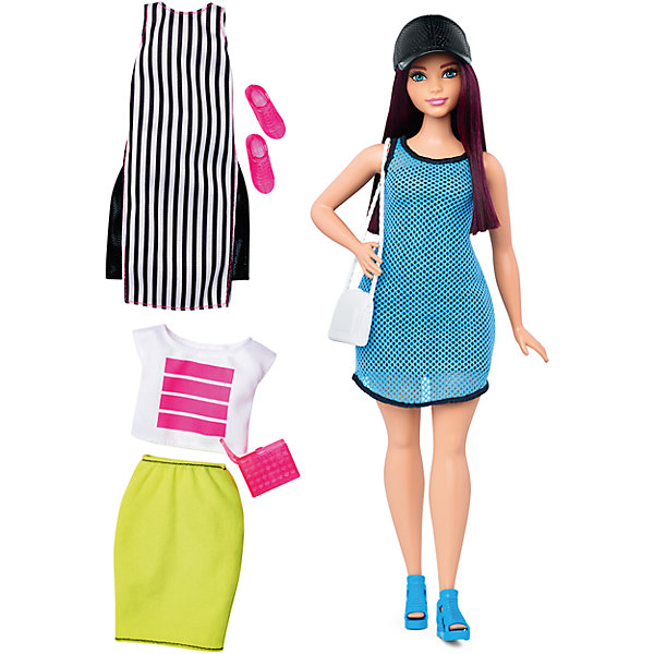Кукла + набор одежды, BarbieБренды кукол<br>Характеристики куклы Барби:<br><br>• высота куклы – 29 см;<br>• шарнирные руки куклы, поднимаются вверх и в стороны, одна рука Барби согнута в локте;<br>• ножки красавицы поднимаются и опускаются, Барби может занимать сидячую позу;<br>• голова куклы поворачивается;<br>• нейлоновые волосы куколки легко расчесываются, не путаются;<br>• наряды куклы Барби выполнены из полиэстера, одежда снимается;<br>• обувь Бабри пластиковая.<br><br>Летний образ куклы Барби представлен тремя комплектами одежды: два сарафана и юбка с футболкой. Девочки могут переодевать Барби, комбинировать детали гардероба, наряжать свою красавицу. <br><br>Комплектация игрового набора Mattel:<br><br>• кукла Барби;<br>• три комплекта одежды;<br>• босоножки, мокасины;<br>• 2 сумочки, кепка.<br><br>Куклу + набор одежды, Barbie можно купить в нашем интернет-магазине.<br><br>Ширина мм: 60<br>Глубина мм: 255<br>Высота мм: 325<br>Вес г: 356<br>Возраст от месяцев: 36<br>Возраст до месяцев: 120<br>Пол: Женский<br>Возраст: Детский<br>SKU: 4865298