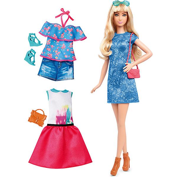 Кукла + набор одежды, BarbieBarbie<br>Кукла + набор одежды, Barbie - потрясающая игрушка от компании Mattel.<br>Такая куколка непременно привлечет внимание Вашей девочки. На этот раз кукла обладает светлой кожей и серыми глазами. Стильная блондинка с очаровательной родинкой на лице. Длинные и густые светлые волосы, так легко расчесывать и укладывать в разные прически. В набор входят вещи и аксессуары  необходимые для придания неповторимого стиля кукле: модное коктейльное платье, две пары обуви, 2 сумочки и два комплекта повседневной одежды. Голова и конечности игрушки подвижны, благодаря чему она может принимать различные позы. Изделие выполнено из высококачественных материалов и является совершенно безопасным для здоровья ребенка.<br>Порадуйте свою девочку таким подарком - Кукла + набор одежды, Barbie!<br> В набор входит:<br>•  кукла;<br>• платье;<br>• 2 сумки, 2 пары обуви;<br>• Два комплекта одежды.<br><br>Дополнительная информация:<br>• Материал: текстиль, пластик.<br>• Высота куклы 29 см.<br>• Размер упаковки: 25.5 x32,5x6 см.<br><br>Кукла + набор одежды, Barbie можно купить в нашем интернет- магазине.<br>Ширина мм: 60; Глубина мм: 255; Высота мм: 325; Вес г: 356; Возраст от месяцев: 36; Возраст до месяцев: 120; Пол: Женский; Возраст: Детский; SKU: 4865300;