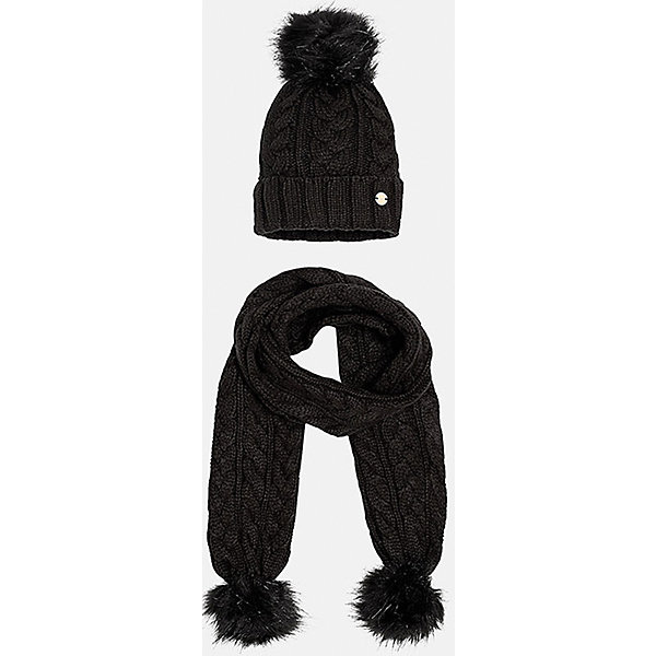 Комплект:шапка и шарф для девочки MayoralДемисезонные<br>Комплект: шапка и шарф для девочки Mayoral от известного испанского бренда Mayoral. Вязаный комплект выполнен из акриловой пряжи, которая обладает мягкостью, высокой износоустойчивостью. Вязаные издели из акрила хорошо держат форму, не изменяют цвет во время стирки или химчистки. Комплект состоит из шапки и шарфа, связанных узором косы. Шапка имеет классическую форму, с отворотом  из вязанной резинки, сверху имеется меховой помпон в тон шапки, края шарфа также оформлены меховыми помпонами. <br><br>Дополнительная информация:<br><br>- Предназначение: повседневная одежда<br>- Комплектация: шапка, шарф<br>- Цвет: черный<br>- Пол: для девочки<br>- Состав: 100% акрил<br>- Сезон: осень-зима-весна<br>- Особенности ухода: стирка при температуре 30 градусов, разрешается химическая чистка, глажение <br><br>Подробнее:<br><br>• Для детей в возрасте: от 8 лет и до 16 лет<br>• Страна производитель: Китай<br>• Торговый бренд: Mayoral<br><br>Комплект: шапка и шарф для девочки Mayoral (Майорал) можно купить в нашем интернет-магазине.<br><br>Ширина мм: 89<br>Глубина мм: 117<br>Высота мм: 44<br>Вес г: 155<br>Цвет: черный<br>Возраст от месяцев: 84<br>Возраст до месяцев: 96<br>Пол: Женский<br>Возраст: Детский<br>Размер: 56,58,54<br>SKU: 4867460