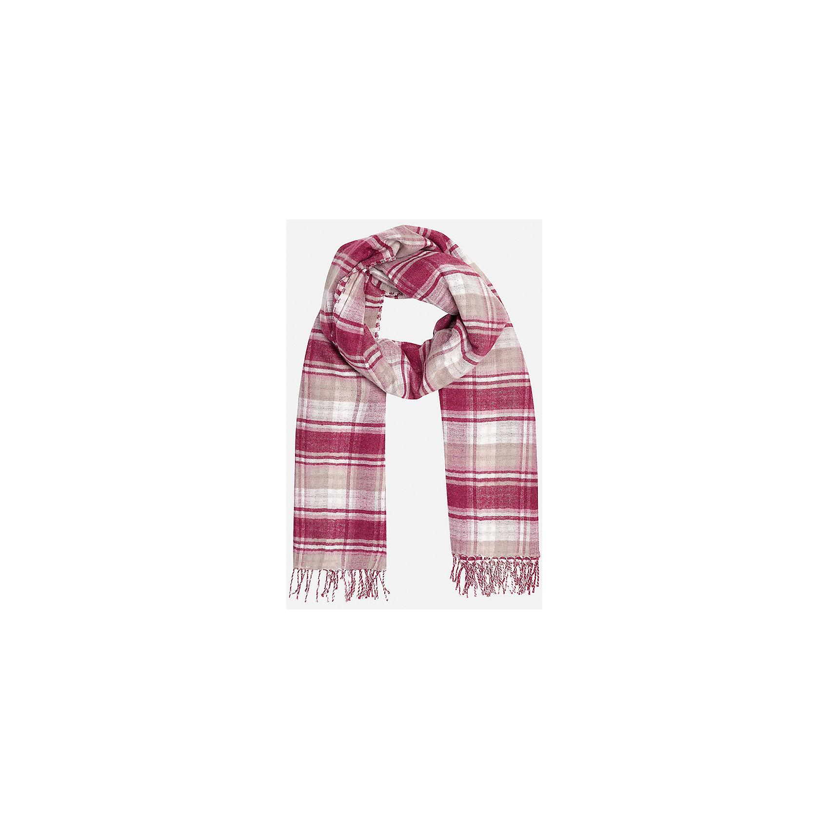 Платок для девочки MayoralШарфы, платки<br>Платок для девочки Mayoral от известного испанского бренда Mayoral. Вязаный комплект выполнен из акриловой ткани с добавлением модала. Модал обеспечивает полотну гипоаллергенность и мягкость. Платок выполнен в двустороннем рисунке: одна сторона – крупная шотландка, вторая сторона – мелкая шахматка. Платок можно использовать и как шарф. Края платка оформлены кистями в тон платку.<br><br>Дополнительная информация:<br><br>- Предназначение: повседневная одежда<br>- Цвет: красный, розовый, белый, бежевый<br>- Пол: для девочки<br>- Состав: 90% акрил, 10% модал<br>- Сезон: осень-зима-весна<br>- Особенности ухода: стирка при температуре 30 градусов, глажение <br><br>Подробнее:<br><br>• Для детей в возрасте: от 8 лет и до 16 лет<br>• Страна производитель: Китай<br>• Торговый бренд: Mayoral<br><br>Платок для девочки Mayoral (Майорал) можно купить в нашем интернет-магазине.<br><br>Ширина мм: 89<br>Глубина мм: 117<br>Высота мм: 44<br>Вес г: 155<br>Цвет: розовый<br>Возраст от месяцев: 96<br>Возраст до месяцев: 108<br>Пол: Женский<br>Возраст: Детский<br>Размер: 58,56<br>SKU: 4867467
