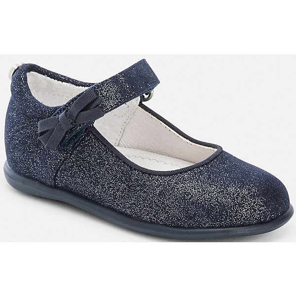 Туфли для девочки MayoralОбувь<br>Туфли для девочки Mayoral от известного испанского бренда Mayoral выполнены из материалов высокого качества: верхняя часть туфелек из экологически безопасного синтетического материала, внутренняя часть из кожи, подошва из антискользящего прорезиненного материала. Обувь имеет анатомически правильную форму, повышенную полноту и застежки на липучке, за счет чего они хорошо садятся на детские ножки. На застежке имеется декоративный бант, а на пятке металлическое сердечко. В туфельках от Mayoral вашей малышке будет удобно и комфортно!<br><br>Дополнительная информация:<br><br>- Предназначение: повседневная обувь, праздничная обувь<br>- Цвет: темно-синий<br>- Пол: для девочки<br>- Сезон: лето<br><br>Подробнее:<br><br>• Для детей в возрасте: от 3 месяцев и до 24 месяцев<br>• Страна производитель: Китай<br>• Торговый бренд: Mayoral<br><br>Туфли для девочки Mayoral (Майорал) можно купить в нашем интернет-магазине.<br><br>Ширина мм: 227<br>Глубина мм: 145<br>Высота мм: 124<br>Вес г: 325<br>Цвет: синий<br>Возраст от месяцев: 12<br>Возраст до месяцев: 15<br>Пол: Женский<br>Возраст: Детский<br>Размер: 21,22,24,20,19,23,25<br>SKU: 4867478