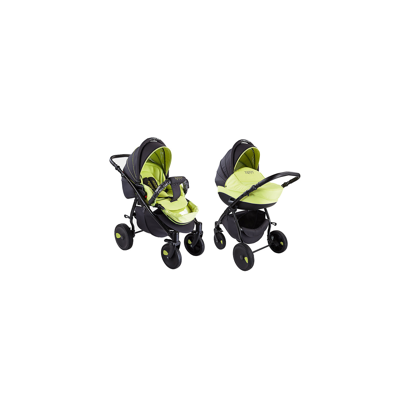 Коляска 2 в 1 Zippy New, Tutis, серый/зеленыйКоляска 2 в 1 Zippy New, Tutis, серый/зеленый<br>Коляска Zippy New, Tutis – это просторная глубокая люлька, прогулочный блок и шасси на которое эти два модуля устанавливаются, как лицом к маме, так и наоборот. Коляска имеет надувные колеса, передние - поворотные с блокировкой, задние - с ножными тормозами. Большой регулируемый капюшон с удобной ручкой надежно защищает малыша. Заднюю часть капюшона можно отстегнуть, получается летний вариант с москитной сеткой и тентом от солнца. Предусмотрен встроенный козырёк с силиконовой вставкой. Люлька с вентиляционными отверстиями в нижней части имеет жесткий каркас. Внутри люльки - тканевое покрытие и матрасик из кокосового волокна со съемным чехлом. Имеется регулируемый подголовник. Прогулочный блок имеет широкое сидение. Наклон спинки регулируется в 4 положениях вплоть до горизонтального. Имеется покрытая силиконом регулируемая подножка (3 положения), регулируемые пятиточечные ремни безопасности с мягкими накладками, мягкий матрасик вкладыш, накидка на ножки, мягкий съемный бампер обтянутый силиконовой пленкой. Регулируемая ручка коляски отделана эко-кожей. Имеется корзина для покупок и сумка для мамы. Шасси легко и компактно складывается, имеется фиксатор от раскладывания. Все тканевые покрытия коляски изготовлены из прочной, но нежной хлопчатобумажной ткани, технология SILVER PLUS обеспечивает защиту от микробов и аллергенов.<br><br>Дополнительная информация:<br><br>- В комплекте: люлька, прогулочный блок, шасси, сумка для мамы, корзина для покупок, чехол на ножки (для люльки и прогулочного блока), москитная сетка, дождевик, матрас для люльки, матрасик-вкладыш для прогулочного блока<br>- Функция качания (когда люлька лежит на полу)<br>- Размер: шасси в разложенном виде 84х62х101 см; шасси в сложенном виде 89х62х38 см.<br>- Размеры: люлька внешний размер 87х39х22 см, внутренний 76х36 см; прогулочный блок внешний размер 95х39х24 см. внутренний 90х39 см.<br>- Вес: люлька 4,3 кг; л