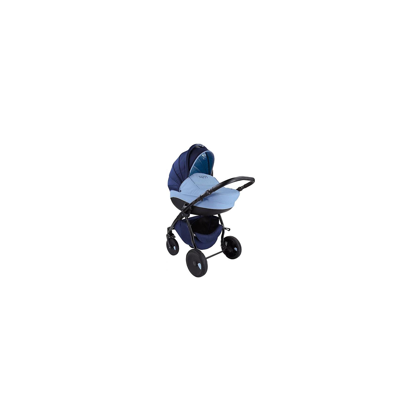 Коляска 2 в 1 Zippy New, Tutis, темно-синий/светло-голубойКоляска 2 в 1 Zippy New, Tutis, темно-синий/светло-голубой<br>Коляска Zippy New, Tutis – это просторная глубокая люлька, прогулочный блок и шасси на которое эти два модуля устанавливаются, как лицом к маме, так и наоборот. Коляска имеет надувные колеса, передние - поворотные с блокировкой, задние - с ножными тормозами. Большой регулируемый капюшон с удобной ручкой надежно защищает малыша. Заднюю часть капюшона можно отстегнуть, получается летний вариант с москитной сеткой и тентом от солнца. Предусмотрен встроенный козырёк с силиконовой вставкой. Люлька с вентиляционными отверстиями в нижней части имеет жесткий каркас. Внутри люльки - тканевое покрытие и матрасик из кокосового волокна со съемным чехлом. Имеется регулируемый подголовник. Прогулочный блок имеет широкое сидение. Наклон спинки регулируется в 4 положениях вплоть до горизонтального. Имеется покрытая силиконом регулируемая подножка (3 положения), регулируемые пятиточечные ремни безопасности с мягкими накладками, мягкий матрасик вкладыш, накидка на ножки, мягкий съемный бампер обтянутый силиконовой пленкой. Регулируемая ручка коляски отделана эко-кожей. Имеется корзина для покупок и сумка для мамы. Шасси легко и компактно складывается, имеется фиксатор от раскладывания. Все тканевые покрытия коляски изготовлены из прочной, но нежной хлопчатобумажной ткани, технология SILVER PLUS обеспечивает защиту от микробов и аллергенов.<br><br>Дополнительная информация:<br><br>- В комплекте: люлька, прогулочный блок, шасси, сумка для мамы, корзина для покупок, чехол на ножки (для люльки и прогулочного блока), москитная сетка, дождевик, матрас для люльки, матрасик-вкладыш для прогулочного блока<br>- Функция качания (когда люлька лежит на полу)<br>- Размер: шасси в разложенном виде 84х62х101 см; шасси в сложенном виде 89х62х38 см.<br>- Размеры: люлька внешний размер 87х39х22 см, внутренний 76х36 см; прогулочный блок внешний размер 95х39х24 см. внутренний 90х39 см.<