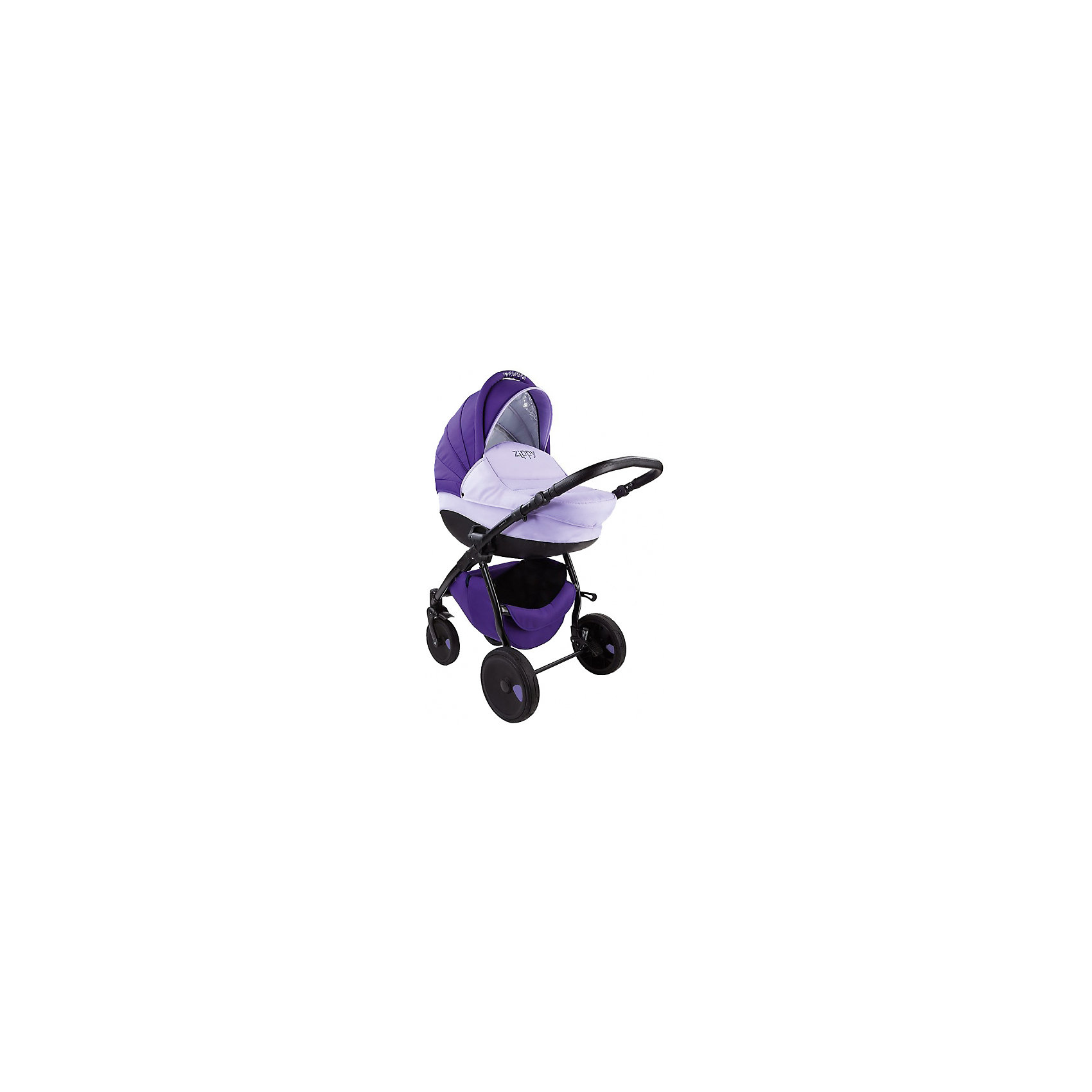 Коляска 2 в 1 Zippy New, Tutis, темно-фиолетовый/светло-фиолетовыйКоляска 2 в 1 Zippy New, Tutis, темно-фиолетовый/светло-фиолетовый<br>Коляска Zippy New, Tutis – это просторная глубокая люлька, прогулочный блок и шасси на которое эти два модуля устанавливаются, как лицом к маме, так и наоборот. Коляска имеет надувные колеса, передние - поворотные с блокировкой, задние - с ножными тормозами. Большой регулируемый капюшон с удобной ручкой надежно защищает малыша. Заднюю часть капюшона можно отстегнуть, получается летний вариант с москитной сеткой и тентом от солнца. Предусмотрен встроенный козырёк с силиконовой вставкой. Люлька с вентиляционными отверстиями в нижней части имеет жесткий каркас. Внутри люльки - тканевое покрытие и матрасик из кокосового волокна со съемным чехлом. Имеется регулируемый подголовник. Прогулочный блок имеет широкое сидение. Наклон спинки регулируется в 4 положениях вплоть до горизонтального. Имеется покрытая силиконом регулируемая подножка (3 положения), регулируемые пятиточечные ремни безопасности с мягкими накладками, мягкий матрасик вкладыш, накидка на ножки, мягкий съемный бампер обтянутый силиконовой пленкой. Регулируемая ручка коляски отделана эко-кожей. Имеется корзина для покупок и сумка для мамы. Шасси легко и компактно складывается, имеется фиксатор от раскладывания. Все тканевые покрытия коляски изготовлены из прочной, но нежной х/б ткани, технология SILVER PLUS обеспечивает защиту от микробов и аллергенов.<br><br>Дополнительная информация:<br><br>- В комплекте: люлька, прогулочный блок, шасси,сумка для мамы, корзина для покупок,чехол на ножки (для люльки и прогулочного блока), москитная сетка, дождевик, матрас для люльки, матрасик-вкладыш для прогулочного блока<br>- Функция качания (когда люлька лежит на полу)<br>- Размер: шасси в разложенном виде 84х62х101 см; шасси в сложенном виде 89х62х38 см.<br>- Размеры: люлька внешний размер 87х39х22 см, внутренний 76х36 см; прогулочный блок внешний размер 95х39х24 см. внутренний 90х39 см.