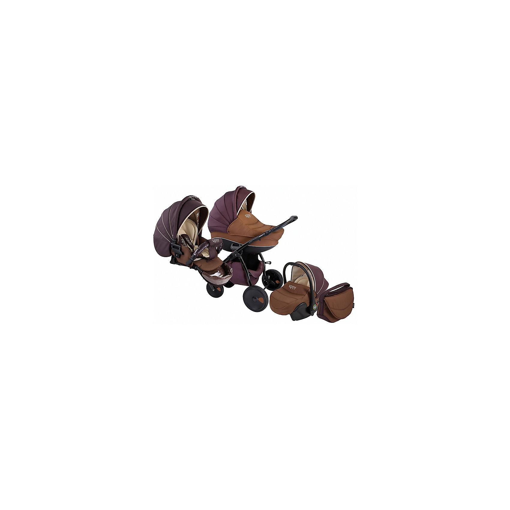 Коляска 3 в 1 Zippy New, Tutis, шоколадКоляска 3 в 1 Zippy New, Tutis, шоколад<br>Коляска 3 в 1 Zippy New, Tutis имеет надувные колеса, передние - поворотные с блокировкой, задние - с ножными тормозами. Большой регулируемый капюшон со встроенным силиконовым козырьком и москитной сеткой надежно защищает малыша. Просторная глубокая люлька с вентиляционными отверстиями в нижней части имеет жесткий каркас. Внутри люльки тканевое покрытие, матрасик из кокосового волокна со съемным чехлом. Имеется регулируемый подголовник. Прогулочный блок имеет широкое сидение. Наклон спинки регулируется в 4 положениях вплоть до горизонтального. Имеется покрытая силиконом регулируемая подножка (3 положения), регулируемые пятиточечные ремни безопасности с мягкими накладками, мягкий матрасик вкладыш, накидка на ножки, мягкий съемный бампер с силиконовым покрытием. Регулируемая ручка коляски отделана эко-кожей. Имеется вместительная корзина для покупок, сумка для мамы. Шасси легко и компактно складывается. Автокресло крепится в автомобиле штатным ремнем безопасности, против хода движения. Имеется трёхточечный ремень безопасности, анатомический вкладыш, солнцезащитный козырек, теплый чехол на ножки. Все тканевые покрытия коляски изготовлены из прочной нежной хлопчатобумажной ткани, а технология SILVER PLUS защищает от микробов и аллергенов.<br><br>Дополнительная информация:<br><br>- В комплекте: люлька, прогулочный блок, автокресло, шасси, сумка для мамы, корзина для покупок, чехол на ножки (для люльки, прогулочного блока, автокресла), москитная сетка, дождевик, матрас для люльки, матрасик-вкладыш (прогулочный блок, автокресло)<br>- Функция качания (когда люлька лежит на полу)<br>- Возможность установки люльки и прогулочного блока к себе-от себя<br>- Размеры: люлька внешний размер 87х39х22 см, внутренний 76х36 см; прогулочный блок внешний размер 95х39х24 см. внутренний 90х39 см.; автокресло 74х32х30 см.<br>- Вес: люлька 4,3 кг; люлька с шасси: 13,2 кг; прогулочный блок с шасси: 13,7 кг, авто