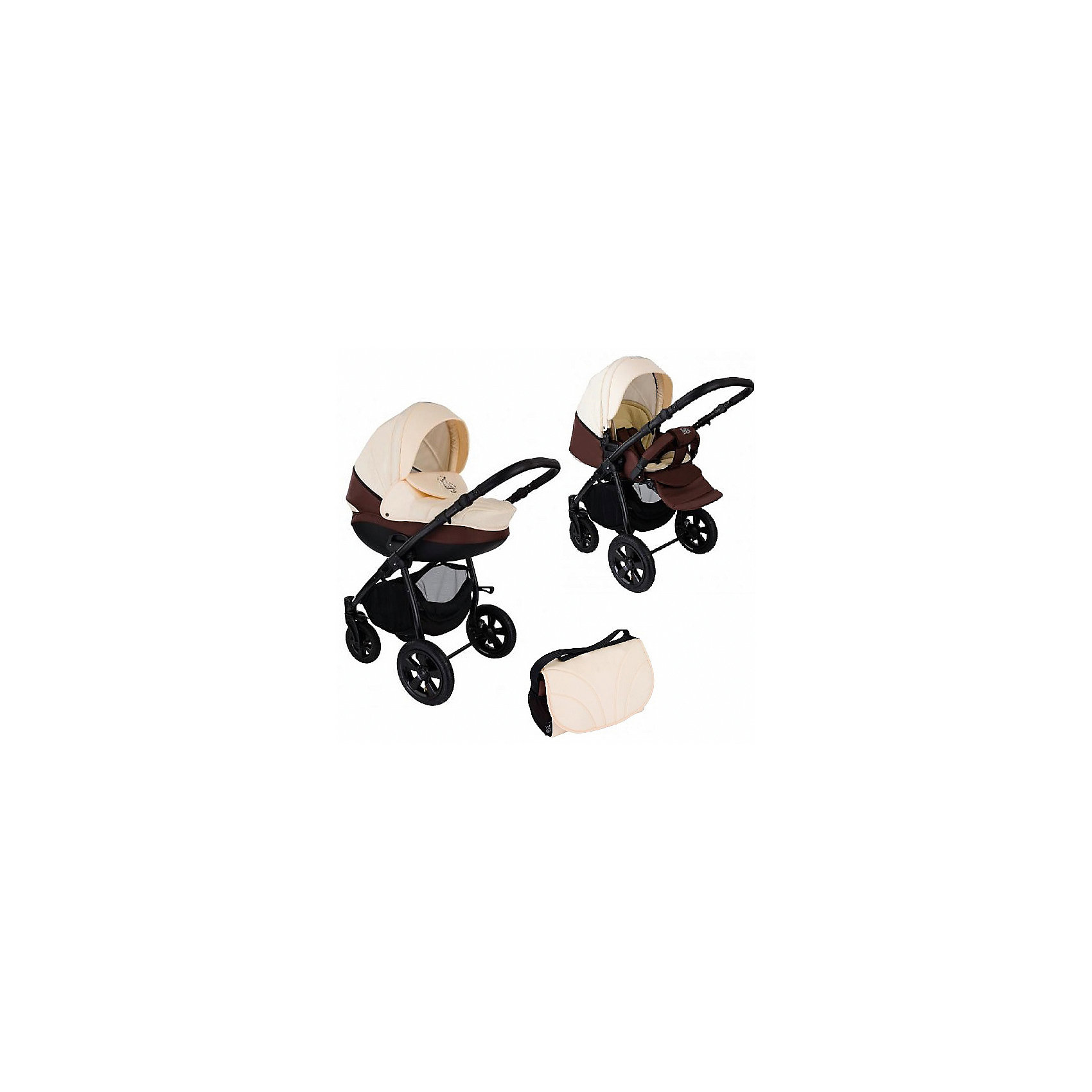 Коляска 2 в 1 Tutis Tapu-Tapu, бежевый/шоколадныйКоляски 2 в 1<br>Коляска 2 в 1 Tapu-Tapu, Tutis, бежевый/шоколадный<br>Коляска 2 в 1 Tapu-Tapu Tutis специально создана для тех, кто любит путешествовать, обожает прогулки на свежем воздухе. Легкая в управлении, просторная, маневренная, компактная, она оборудована просторной прочной пластмассовой люлькой, которая имеет вентиляционные отверстия в нижней части. Внутри люльки - тканевое покрытие, матрасик из кокосового волокна и регулируемый подголовник. Накидка на люльку защищает малыша от ветра и непогоды. Прогулочный блок имеет широкое сидение с регулируемым наклоном спинки вплоть до горизонтального положения, встроенные пятиточечные ремни безопасности, регулируемую подножку, матрасик-вкладыш, накидку на ножки, съёмный бампер, обтянутый мягкой тканью. Большой регулируемый капюшон с ручкой для переноски защищает от ультрафиолетового излучения 50+, имеет вентилируемую вставку под молнией. Высоту ручки для мамы можно отрегулировать. Предусмотрена вместительная корзина для покупок и сумка для мамы. Коляска имеет надувные колеса, передние - поворотные с блокировкой, задние - с ножными тормозами. Шасси выполнено из алюминия, легко и компактно складывается.<br><br>Дополнительная информация:<br><br>- Комплектация: люлька, прогулочный блок, шасси, матрас для люльки, чехол на ноги (для люльки и прогулочного блока), москитная сетка, дождевик, сумка для мамы, корзина для покупок<br>- Функция качания (когда люлька лежит на полу)<br>- Регулируемая амортизация шасси<br>- Механизм сложения - книжка<br>- Размеры: прогулочный блок – 95x39 см, внутренний размер люльки – 79x36 см.<br>- Размер сложенной коляски: 89x60x38 см.<br>- Вес: люлька 4,95 кг, прогулочный блок 5,25 кг, шасси - 9 кг<br>- Шасси: ширина 61 см. диаметр колес передние 23 см, задние 30 см.<br><br>Коляску 2 в 1 Tapu-Tapu, Tutis, бежевую/шоколадную можно купить в нашем интернет-магазине.<br><br>Ширина мм: 890<br>Глубина мм: 600<br>Высота мм: 380<br>Вес г: 22000<br>Возраст 