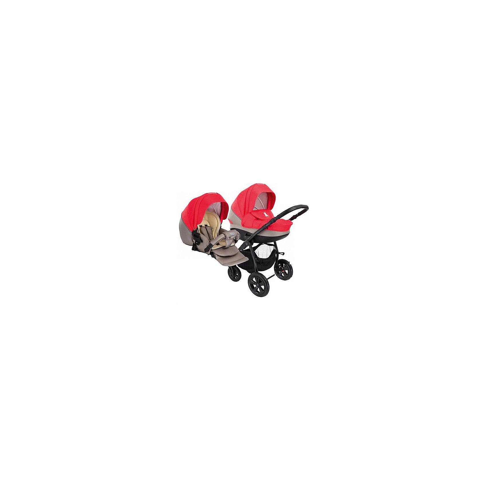 Коляска 2 в 1 Tapu-Tapu, Tutis, красный/тем. бежевыйКоляска 2 в 1 Tapu-Tapu, Tutis, красный/тем. бежевый<br> Коляска 2 в 1 Tapu-Tapu Tutis специально создана для тех, кто любит путешествовать, обожает прогулки на свежем воздухе. Легкая в управлении, просторная, маневренная, компактная, она оборудована просторной прочной пластмассовой люлькой, которая имеет вентиляционные отверстия в нижней части. Внутри люльки - тканевое покрытие, матрасик из кокосового волокна и регулируемый подголовник. Накидка на люльку защищает малыша от ветра и непогоды. Прогулочный блок имеет широкое сидение с регулируемым наклоном спинки вплоть до горизонтального положения, встроенные пятиточечные ремни безопасности, регулируемую подножку, матрасик-вкладыш, накидку на ножки, съёмный бампер, обтянутый мягкой тканью. Большой регулируемый капюшон с ручкой для переноски защищает от ультрафиолетового излучения 50+, имеет вентилируемую вставку под молнией. Высоту ручки для мамы можно отрегулировать. Предусмотрена вместительная корзина для покупок и сумка для мамы. Коляска имеет надувные колеса, передние - поворотные с блокировкой, задние - с ножными тормозами. Шасси выполнено из алюминия, легко и компактно складывается. <br><br>Дополнительная информация:<br><br>- Комплектация: люлька, прогулочный блок, шасси, матрас для люльки, чехол на ноги (для люльки и прогулочного блока), москитная сетка, дождевик, сумка для мамы, корзина для покупок<br>- Функция качания (когда люлька лежит на полу)<br>- Регулируемая амортизация шасси<br>- Механизм сложения - книжка<br>- Размеры: прогулочный блок – 95x39 см, внутренний размер люльки – 79x36 см.<br>- Размер сложенной коляски: 89x60x38 см.<br>- Вес: люлька 4,95 кг, прогулочный блок 5,25 кг, шасси - 4,95 кг<br>- Шасси: ширина 61 см. диаметр колес передние 23 см, задние 30 см.<br><br>Коляску 2 в 1 Tapu-Tapu, Tutis, красную/тем. бежевую можно купить в нашем интернет-магазине.<br><br>Ширина мм: 890<br>Глубина мм: 600<br>Высота мм: 380<br>Вес г: 19400<br>Возраст от ме