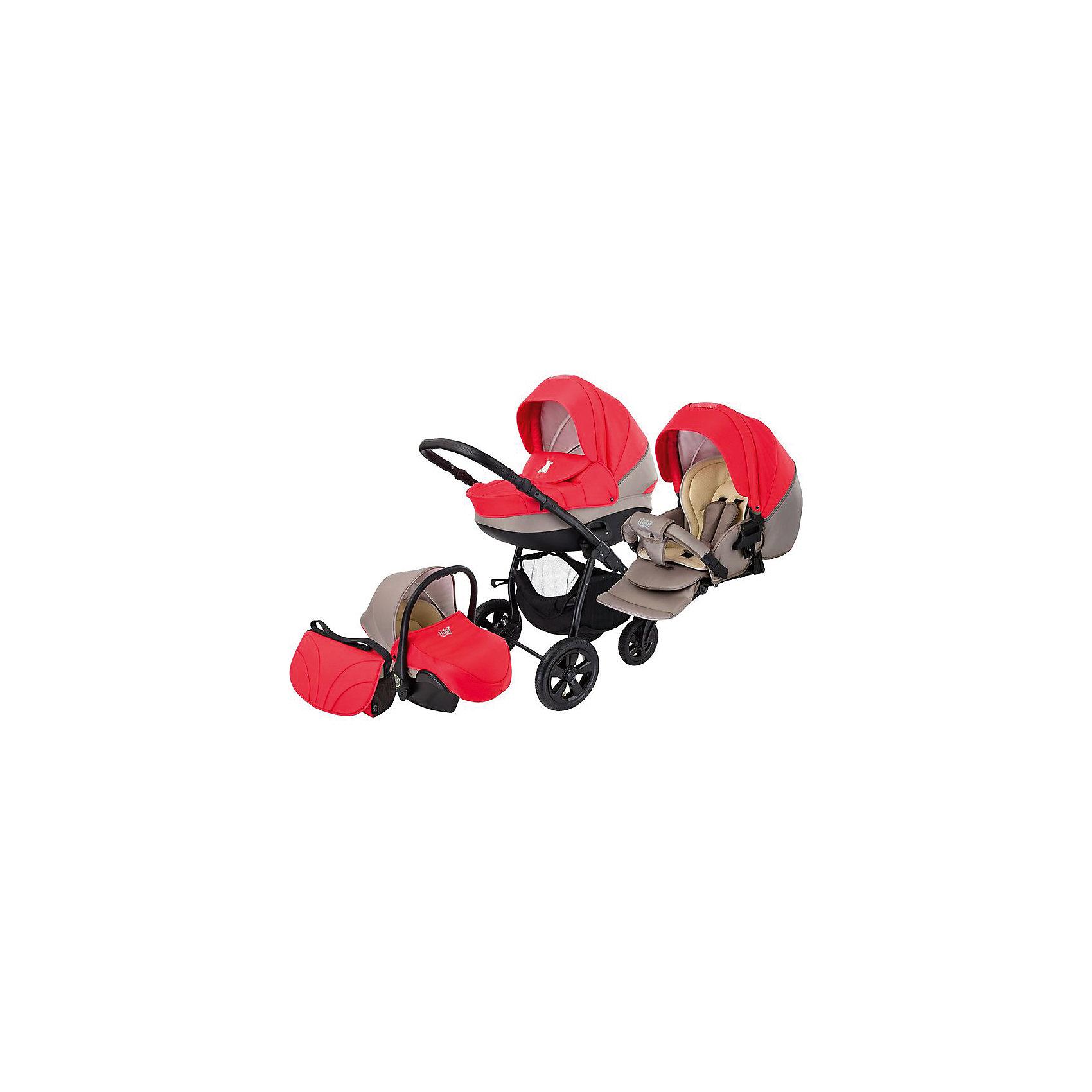 Коляска 3 в 1 Tapu-Tapu, Tutis, красный/тем. бежевыйКоляска 3 в 1 Tapu-Tapu, Tutis, красный/тем. бежевый<br>Коляска 3 в 1 Tapu-Tapu Tutis специально создана для тех, кто любит путешествовать, обожает прогулки на свежем воздухе. Легкая в управлении, просторная, маневренная, компактная, она оборудована просторной прочной пластмассовой люлькой, которая имеет вентиляционные отверстия в нижней части. Внутри люльки - тканевое покрытие, матрасик из кокосового волокна и регулируемый подголовник. Накидка на люльку защищает малыша от ветра и непогоды. Прогулочный блок имеет широкое сидение с регулируемым наклоном спинки вплоть до горизонтального положения, встроенные пятиточечные ремни безопасности, регулируемую подножку, матрасик-вкладыш, накидку на ножки, съёмный бампер, обтянутый мягкой тканью.Большой регулируемый капюшон с ручкой для переноски имеет вентилируемую вставку под молнией. Высоту ручки для мамы можно отрегулировать. Предусмотрена вместительная корзина для покупок и сумка для мамы. Коляска имеет надувные колеса, передние - поворотные с блокировкой, задние - с ножными тормозами. Шасси выполнено из алюминия, легко и компактно складывается. Автомобильное кресло отвечает всем европейским стандартам, крепится в автомобиле штатным ремнем безопасности, против хода движения. Имеет трёхточечный ремень безопасности, анатомический вкладыш, солнцезащитный козырек, накидку-чехол, нескользящую ручку.<br><br>Дополнительная информация:<br><br>- Комплектация: люлька, прогулочный блок, автокресло, шасси, матрас для люльки, москитная сетка, дождевик, сумка для мамы, корзина для покупок, чехлы на ножки (прогулочный блок, автокресло), накидка на люльку, матрасик-вкладыш (прогулочный блок, автокресло)<br>- Функция качания (когда люлька лежит на полу)<br>- Регулируемая амортизация шасси<br>- Размеры: прогулочный блок – 95x39 см, внутренний размер люльки – 79x36 см, внутренний размер автокресла - 74x32 см.<br>- Размер сложенной коляски: 89x60x38 см.<br>- Вес: люлька 4,95 кг, прогулочны