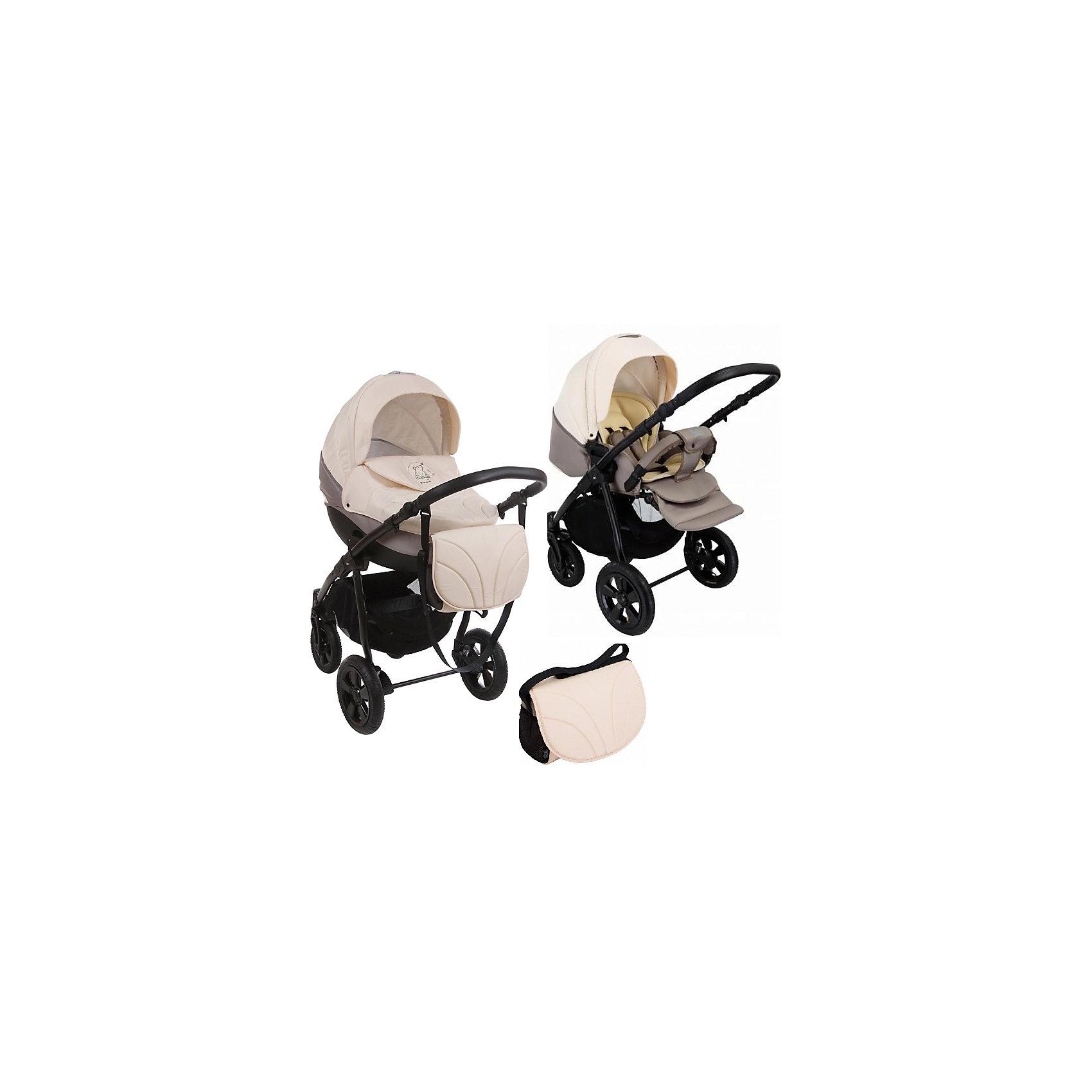 Коляска 3 в 1 Tapu-Tapu, Tutis, свет.бежевый/темн.бежевыйКоляска 3 в 1 Tapu-Tapu, Tutis, свет.бежевый/темн.бежевый<br>Коляска 3 в 1 Tapu-Tapu Tutis специально создана для тех, кто любит путешествовать, обожает прогулки на свежем воздухе. Легкая в управлении, просторная, маневренная, компактная, она оборудована просторной прочной пластмассовой люлькой, которая имеет вентиляционные отверстия в нижней части. Внутри люльки - тканевое покрытие, матрасик из кокосового волокна и регулируемый подголовник. Накидка на люльку защищает малыша от ветра и непогоды. Прогулочный блок имеет широкое сидение с регулируемым наклоном спинки вплоть до горизонтального положения, встроенные пятиточечные ремни безопасности, регулируемую подножку, матрасик-вкладыш, накидку на ножки, съёмный бампер, обтянутый мягкой тканью. Большой регулируемый капюшон с ручкой для переноски имеет вентилируемую вставку под молнией. Высоту ручки для мамы можно отрегулировать. Предусмотрена вместительная корзина для покупок и сумка для мамы. Коляска имеет надувные колеса, передние - поворотные с блокировкой, задние - с ножными тормозами. Шасси выполнено из алюминия, легко и компактно складывается. Автомобильное кресло отвечает всем европейским стандартам, крепится в автомобиле штатным ремнем безопасности, против хода движения. Имеет трёхточечный ремень безопасности, анатомический вкладыш, солнцезащитный козырек, накидку-чехол, нескользящую ручку.<br><br>Дополнительная информация:<br><br>- Комплектация: люлька, прогулочный блок, автокресло, шасси,  матрас для люльки, москитная сетка, дождевик, сумка для мамы, корзина для покупок, чехлы на ножки (прогулочный блок, автокресло), накидка на люльку, матрасик-вкладыш (прогулочный блок, автокресло)<br>- Функция качания (когда люлька лежит на полу)<br>- Регулируемая амортизация шасси<br>- Размеры: прогулочный блок – 95x39 см, внутренний размер люльки – 79x36 см, внутренний размер автокресла - 74x32 см.<br>- Размер сложенной коляски: 89x60x38 см.<br>- Вес: люлька 4,95 кг