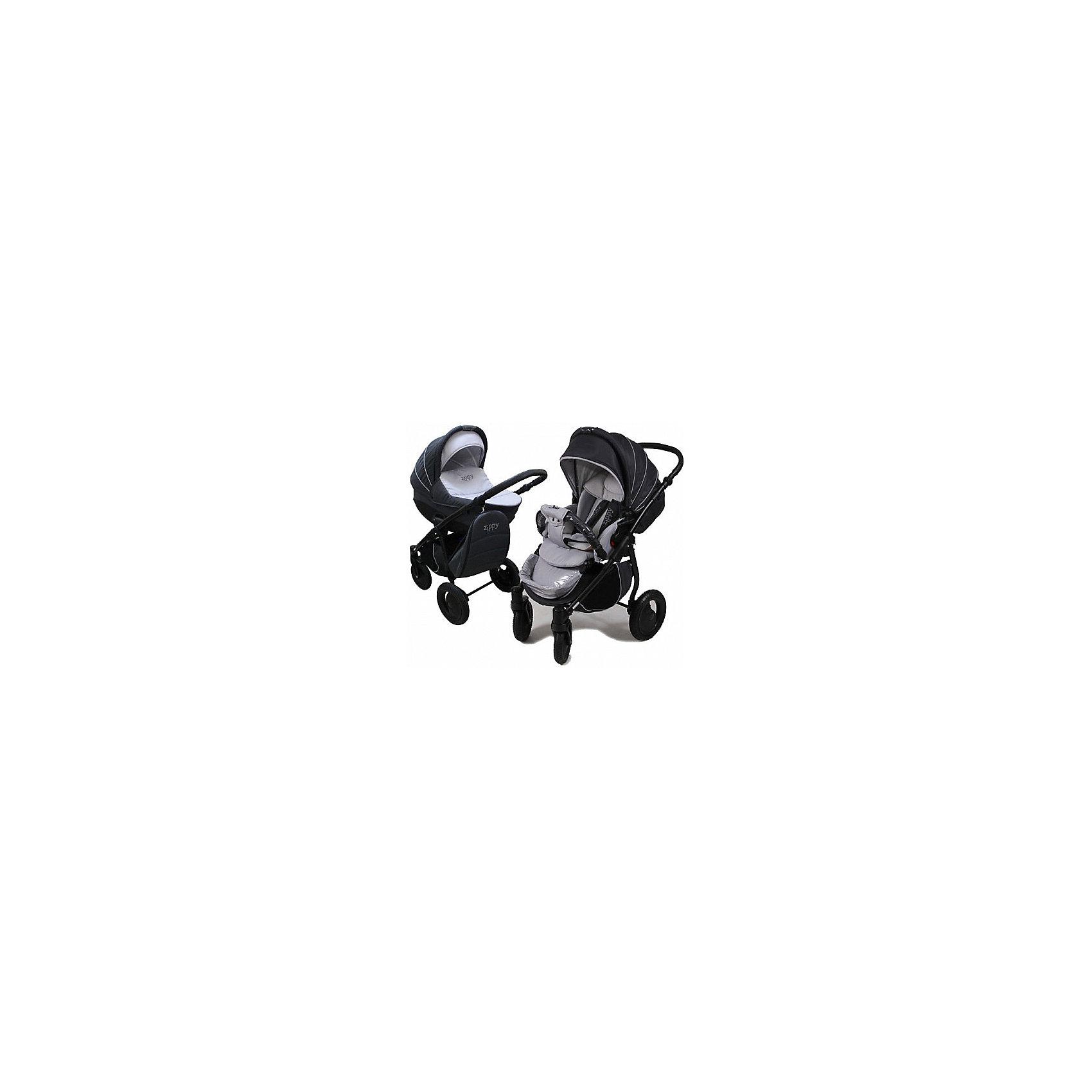 Коляска 2 в 1 Zippy Sport Plus, Tutis, темно-серый/светло-серыйКоляска 2 в 1 Zippy Sport Plus, Tutis, темно-серый/светло-серый<br>Коляска 2 в 1 Zippy Sport Plus, Tutis это стильная и маневренная коляска, предназначенная для детей от рождения до 3-х лет. Легкая в управлении, просторная, маневренная, компактная, она оборудована просторной прочной пластмассовой люлькой, которая имеет вентиляционные отверстия в нижней части. Внутри люльки - тканевое покрытие, матрасик из кокосового волокна и регулируемый подголовник. Накидка на люльку защищает малыша от ветра и непогоды. Прогулочный блок имеет широкое сидение с регулируемым наклоном спинки вплоть до горизонтального положения, встроенные пятиточечные ремни безопасности, регулируемую подножку с силиконовой накладкой, матрасик-вкладыш, накидку на ножки, съёмный бампер, обтянутый мягкой тканью с силиконовой накладкой. Большой регулируемый капюшон с ручкой для переноски имеет вентилируемую вставку под молнией. В капюшоне прогулочного блока предусмотрена встроенная силиконовая вставка. Высоту ручки для мамы можно отрегулировать. Предусмотрена вместительная корзина для покупок и сумка для мамы в виде рюкзака. Коляска имеет надувные колеса, передние - поворотные с блокировкой, задние - с ножными тормозами. Шасси выполнено из алюминия, легко и компактно складывается. Все внутренние поверхности и материалы натуральны и безопасны. Для их изготовления используется специально сотканная прочная нежная хлопчатобумажная ткань, особая технология SILVER PLUS обеспечивает защиту от микробов и аллергенов.<br><br>Дополнительная информация:<br><br>- Комплектация: люлька, прогулочный блок, шасси, матрас для люльки, чехол на ноги (для люльки и прогулочного блока), москитная сетка, дождевик, рюкзак для мамы, корзина для покупок, матрас-вкладыш для прогулочного блока<br>- Функция качания (когда люлька лежит на полу)<br>- Регулируемая амортизация шасси<br>- Размеры: прогулочный блок 95х39х24 см. внутренний размер люльки 34х76 см.<br>- Размер слож