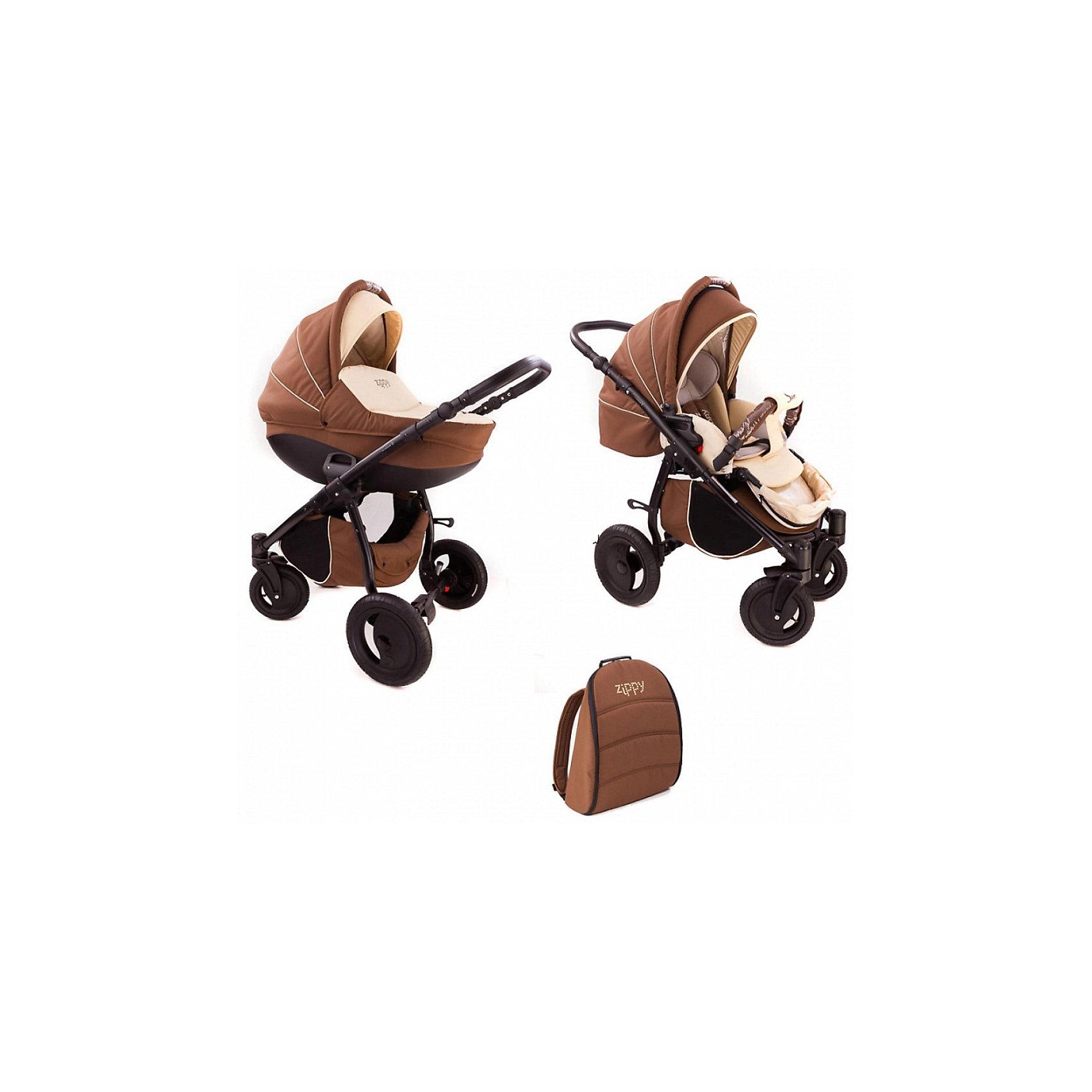 Коляска 2 в 1 Zippy Sport Plus, Tutis, шоколадный/молочныйКоляска 2 в 1 Zippy Sport Plus, Tutis, шоколадный/молочный<br>Коляска 2 в 1 Zippy Sport Plus, Tutis это стильная и маневренная коляска, предназначенная для детей от рождения до 3-х лет. Легкая в управлении, просторная, маневренная, компактная, она оборудована просторной прочной пластмассовой люлькой, которая имеет вентиляционные отверстия в нижней части. Внутри люльки - тканевое покрытие, матрасик из кокосового волокна и регулируемый подголовник. Накидка на люльку защищает малыша от ветра и непогоды. Прогулочный блок имеет широкое сидение с регулируемым наклоном спинки вплоть до горизонтального положения, встроенные пятиточечные ремни безопасности, регулируемую подножку с силиконовой накладкой, матрасик-вкладыш, накидку на ножки, съёмный бампер, обтянутый мягкой тканью с силиконовой накладкой. Большой регулируемый капюшон с ручкой для переноски имеет вентилируемую вставку под молнией. В капюшоне прогулочного блока предусмотрена встроенная силиконовая вставка. Высоту ручки для мамы можно отрегулировать. Предусмотрена вместительная корзина для покупок и сумка для мамы в виде рюкзака. Коляска имеет надувные колеса, передние - поворотные с блокировкой, задние - с ножными тормозами. Шасси выполнено из алюминия, легко и компактно складывается. Все внутренние поверхности и материалы натуральны и безопасны. Для их изготовления используется специально сотканная прочная нежная хлопчатобумажная ткань, особая технология SILVER PLUS обеспечивает защиту от микробов и аллергенов.<br><br>Дополнительная информация:<br><br>- Комплектация: люлька, прогулочный блок, шасси, матрас для люльки, чехол на ноги (для люльки и прогулочного блока), москитная сетка, дождевик, рюкзак для мамы, корзина для покупок, матрас-вкладыш для прогулочного блока<br>- Функция качания (когда люлька лежит на полу)<br>- Регулируемая амортизация шасси<br>- Размеры: прогулочный блок 95х39х24 см. внутренний размер люльки 34х76 см.<br>- Размер сложенной коля