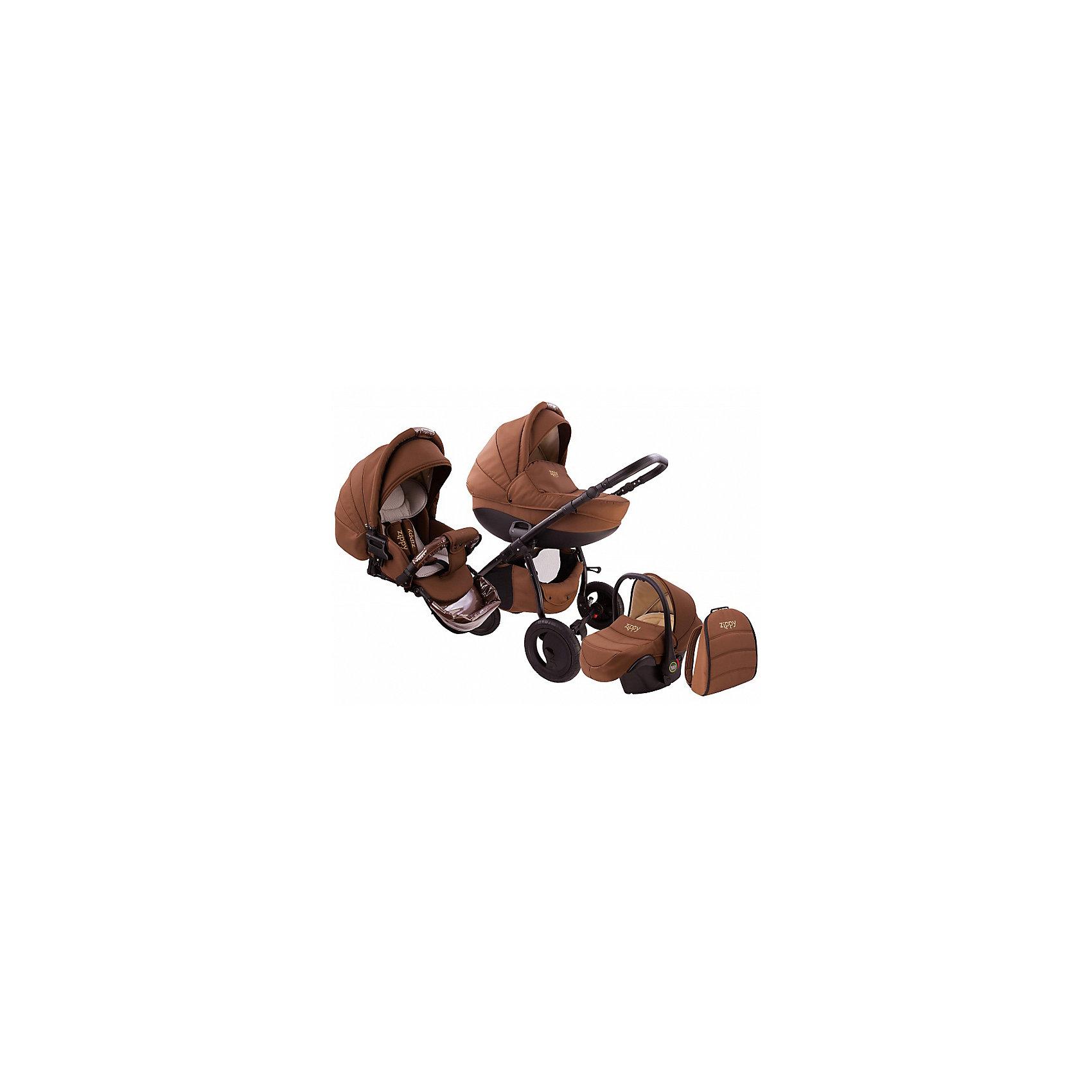 Коляска 3 в 1 Zippy Sport Plus, Tutis, шоколадКоляска 3 в 1 Zippy Sport Plus, Tutis, шоколад<br>Коляска 3 в 1 Zippy Sport Plus, Tutis - это стильная и маневренная, легкая в управлении коляска. Она оборудована просторной прочной пластмассовой люлькой, которая имеет вентиляционные отверстия в нижней части. Внутри люльки - тканевое покрытие, матрасик из кокосового волокна и регулируемый подголовник. Накидка на люльку защищает малыша от ветра и непогоды. Прогулочный блок имеет широкое сидение с регулируемым наклоном спинки вплоть до горизонтального положения, встроенные пятиточечные ремни безопасности, регулируемую подножку с силиконовой накладкой, матрасик-вкладыш, накидку на ножки, съёмный бампер, обтянутый мягкой тканью с силиконовой накладкой. Большой регулируемый капюшон с ручкой для переноски имеет вентилируемую вставку под молнией. В капюшоне прогулочного блока предусмотрена встроенная силиконовая вставка. Высоту ручки для мамы можно отрегулировать. Предусмотрена вместительная корзина для покупок и сумка для мамы в виде рюкзака. Коляска имеет надувные колеса, передние - поворотные с блокировкой, задние - с ножными тормозами. Шасси выполнено из алюминия, легко и компактно складывается. Автомобильное кресло отвечает всем европейским стандартам, крепится в автомобиле штатным ремнем безопасности, против хода движения. Имеет трёхточечный ремень безопасности, анатомический вкладыш, съемный солнцезащитный козырек, накидку-чехол, нескользящую ручку.<br><br>Дополнительная информация:<br><br>- Комплектация: люлька, прогулочный блок, автокресло, шасси, матрас для люльки, чехол на ноги (для люльки, прогулочного блока, автокресла), москитная сетка, дождевик, рюкзак для мамы, корзина для покупок, матрас-вкладыш для прогулочного блока и автокресла <br>- Функция качания (когда люлька лежит на полу)<br>- Регулируемая амортизация шасси<br>- Размеры: прогулочный блок 95х39х24 см. внутренний размер люльки 34х76 см., внутренний размер автокресла 32х74 см.<br>- Размер сложенной коляск