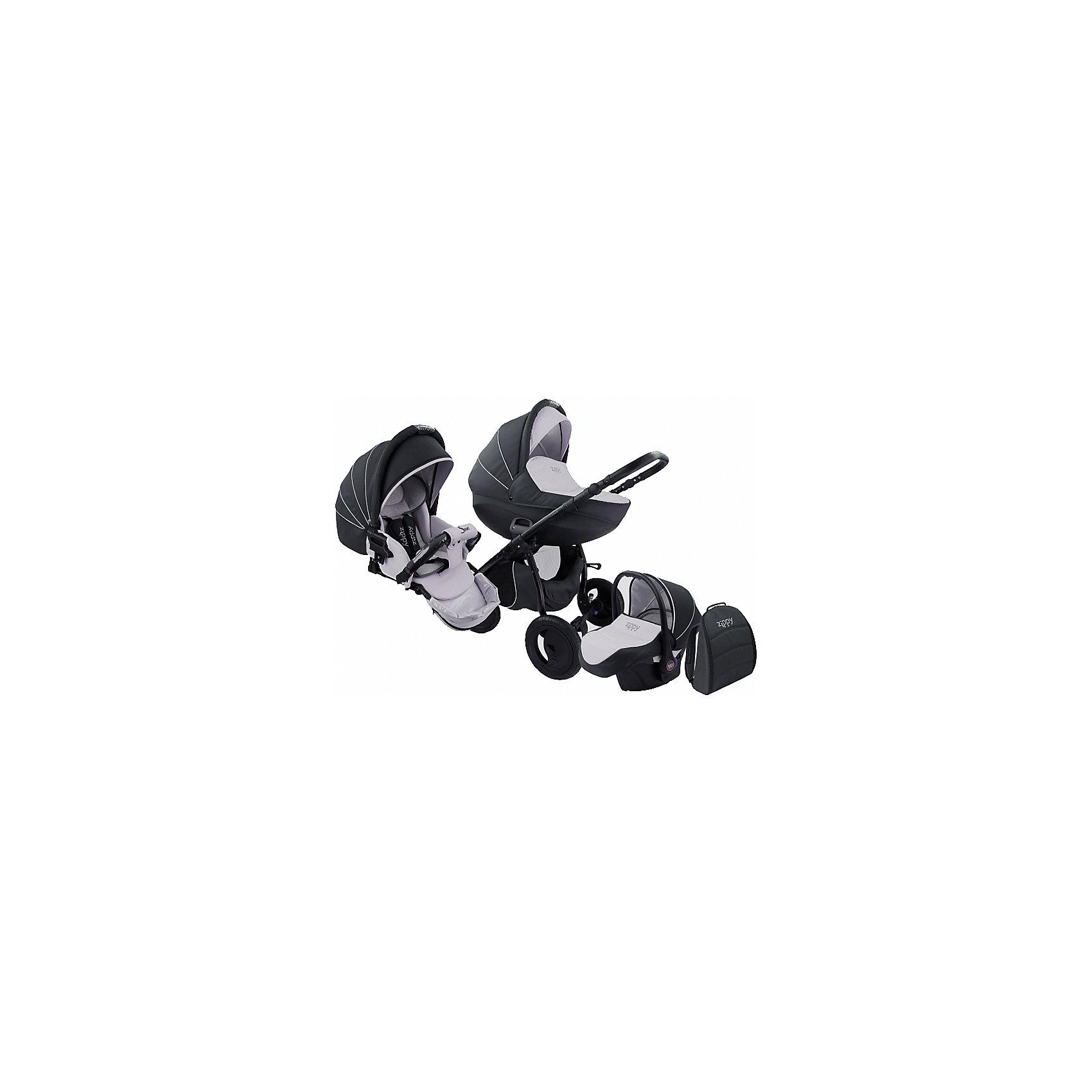 Коляска 3 в 1 Zippy Sport Plus, Tutis, темно-серый/светло-серыйКоляска 3 в 1 Zippy Sport Plus, Tutis, темно-серый/светло-серый<br>Коляска 3 в 1 Zippy Sport Plus, Tutis - это стильная и маневренная, легкая в управлении коляска. Она оборудована просторной прочной пластмассовой люлькой, которая имеет вентиляционные отверстия в нижней части. Внутри люльки - тканевое покрытие, матрасик из кокосового волокна и регулируемый подголовник. Накидка на люльку защищает малыша от ветра и непогоды. Прогулочный блок имеет широкое сидение с регулируемым наклоном спинки вплоть до горизонтального положения, встроенные пятиточечные ремни безопасности, регулируемую подножку с силиконовой накладкой, матрасик-вкладыш, накидку на ножки, съёмный бампер, обтянутый мягкой тканью с силиконовой накладкой. Большой регулируемый капюшон с ручкой для переноски имеет вентилируемую вставку под молнией. В капюшоне прогулочного блока предусмотрена встроенная силиконовая вставка. Высоту ручки для мамы можно отрегулировать. Предусмотрена вместительная корзина для покупок и сумка для мамы в виде рюкзака. Коляска имеет надувные колеса, передние - поворотные с блокировкой, задние - с ножными тормозами. Шасси выполнено из алюминия, легко и компактно складывается. Автомобильное кресло отвечает всем европейским стандартам, крепится в автомобиле штатным ремнем безопасности, против хода движения. Имеет трёхточечный ремень безопасности, анатомический вкладыш, съемный солнцезащитный козырек, накидку-чехол, нескользящую ручку.<br><br>Дополнительная информация:<br><br>- Комплектация: люлька, прогулочный блок, автокресло, шасси, матрас для люльки, чехол на ноги (для люльки, прогулочного блока, автокресла), москитная сетка, дождевик, рюкзак для мамы, корзина для покупок, матрас-вкладыш для прогулочного блока и автокресла<br>- Функция качания (когда люлька лежит на полу)<br>- Регулируемая амортизация шасси<br>- Размеры: прогулочный блок 95х39х24 см. внутренний размер люльки 34х76 см., внутренний размер автокресла 32х74