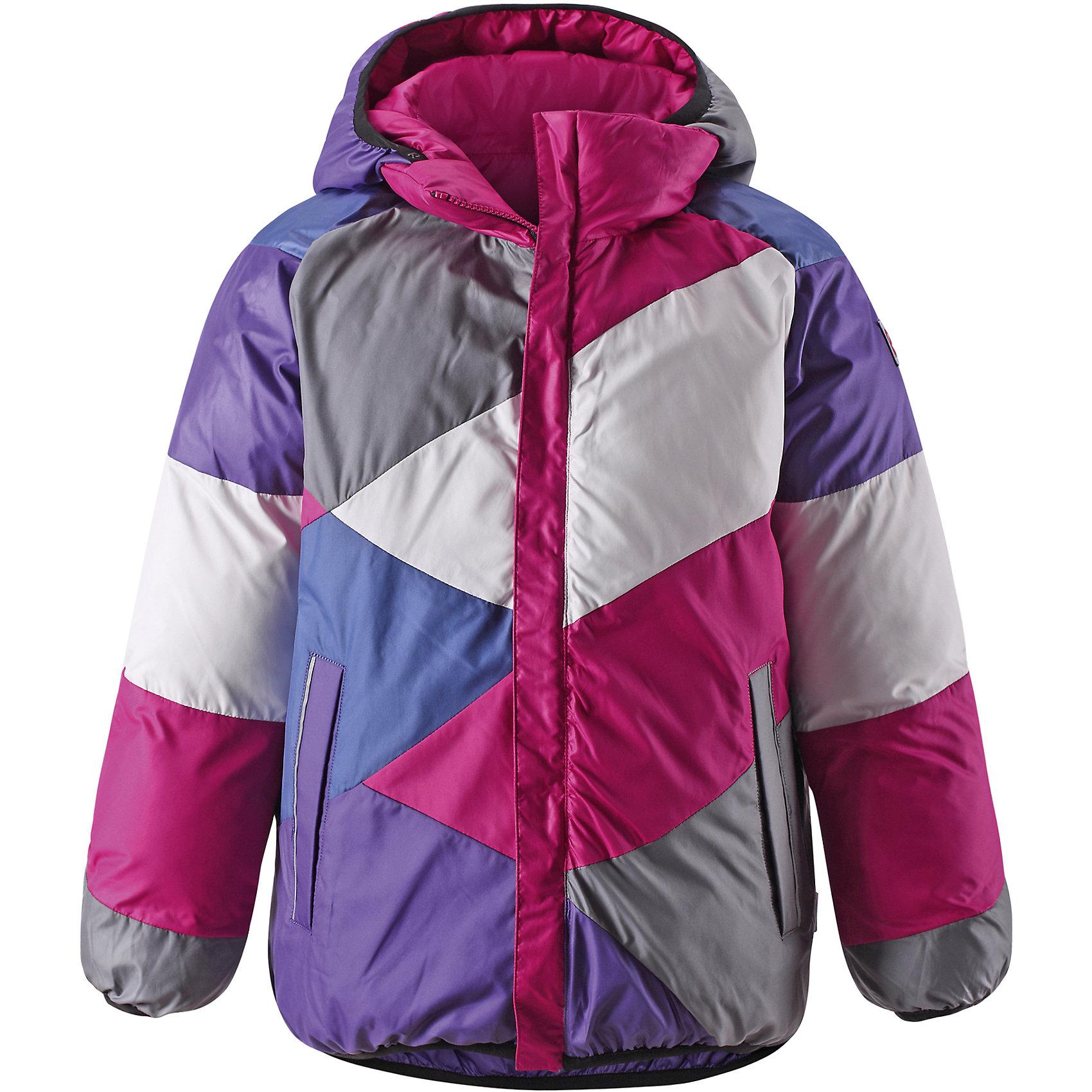 Куртка для девочки ReimaДвусторонняя куртка для девочки от финской марки Reima.<br><br>Сегодня однотонная, а завтра яркая и разноцветная! Этот весёлый двусторонний пуховик для детей согреет любителей прогулок в морозные зимние деньки! Пошит из ветронепроницаемого и пропускающего воздух материала, который отталкивает грязь и влагу.<br><br>В этом пуховике вашему ребёнку будет сухо и тепло на прогулке. Традиционный пуховик прямого покроя со съёмным капюшоном, который защитит от зимнего ветра. На этой великолепной зимней куртке имеется множество светоотражающих деталей, например, светоотражающие канты на карманах. Съёмный капюшон обеспечивает дополнительную надёжность - если закреплённый кнопками капюшон зацепится за что-нибудь, он легко отстегнётся. Выберите свой любимый цвет среди модных в этом сезоне расцветок!<br>- Двусторонний пуховик для подростков<br>- Одна сторона однотонная, другая - разноцветная<br>- Карманы на молниях<br>- Эластичный кант на манжетах рукавов, по краю капюшона и подола<br>- Безопасный съёмный капюшон<br><br>Состав:<br>100% ПЭ<br><br>Ширина мм: 356<br>Глубина мм: 10<br>Высота мм: 245<br>Вес г: 519<br>Цвет: розовый<br>Возраст от месяцев: 84<br>Возраст до месяцев: 96<br>Пол: Женский<br>Возраст: Детский<br>Размер: 128,110,140,116,122,152,134,146<br>SKU: 4869703