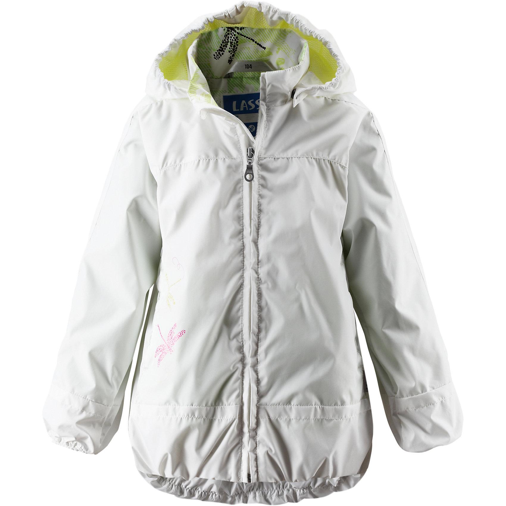 Куртка LASSIEОдежда<br>Куртка LASSIE (Ласси), белый от известного финского производителя  детской одежды Reima. Демисезонная куртка выполнена из полиэстера, который обладает высокой износоустойчивостью, воздухопроницаемыми, водооталкивающими и грязеотталкивающими свойствами. Изделие устойчиво к изменению формы и цвета даже при длительном использовании. Куртка имеет классическую форму: прямой силуэт с чуть присборенным эластичным кантом низом, кант повторяется на рукавах и капюшоне, воротник-стойка, застежка-молния с защитой у подбородка и 2 боковых прорезных кармана на липучках. Куртка имеет полиуретановое покрытие, что делает ее непромокаемой даже в дождливую погоду. Куртка идеально подходит для весенних и осенних прогулок.<br><br>Дополнительная информация:<br><br>- Предназначение: повседневная одежда для прогулок и активного отдыха<br>- Цвет: белый<br>- Пол: для девочки<br>- Состав: 100% полиэстер, полиуретановое покрытие<br>- Сезон: весна-осень (демисезонная)<br>- Особенности ухода: стирать изделие, предварительно вывернув его на левую сторону, не использовать отбеливающие вещества<br><br>Подробнее:<br><br>• Для детей в возрасте: от 2 лет и до 3 лет<br>• Страна производитель: Китай<br>• Торговый бренд: Reima, Финляндия<br><br>Куртку LASSIE (Ласси), белый можно купить в нашем интернет-магазине.<br><br>Ширина мм: 356<br>Глубина мм: 10<br>Высота мм: 245<br>Вес г: 519<br>Цвет: белый<br>Возраст от месяцев: 24<br>Возраст до месяцев: 36<br>Пол: Унисекс<br>Возраст: Детский<br>Размер: 98,104,116,110,122,128,134,92,140<br>SKU: 4869792