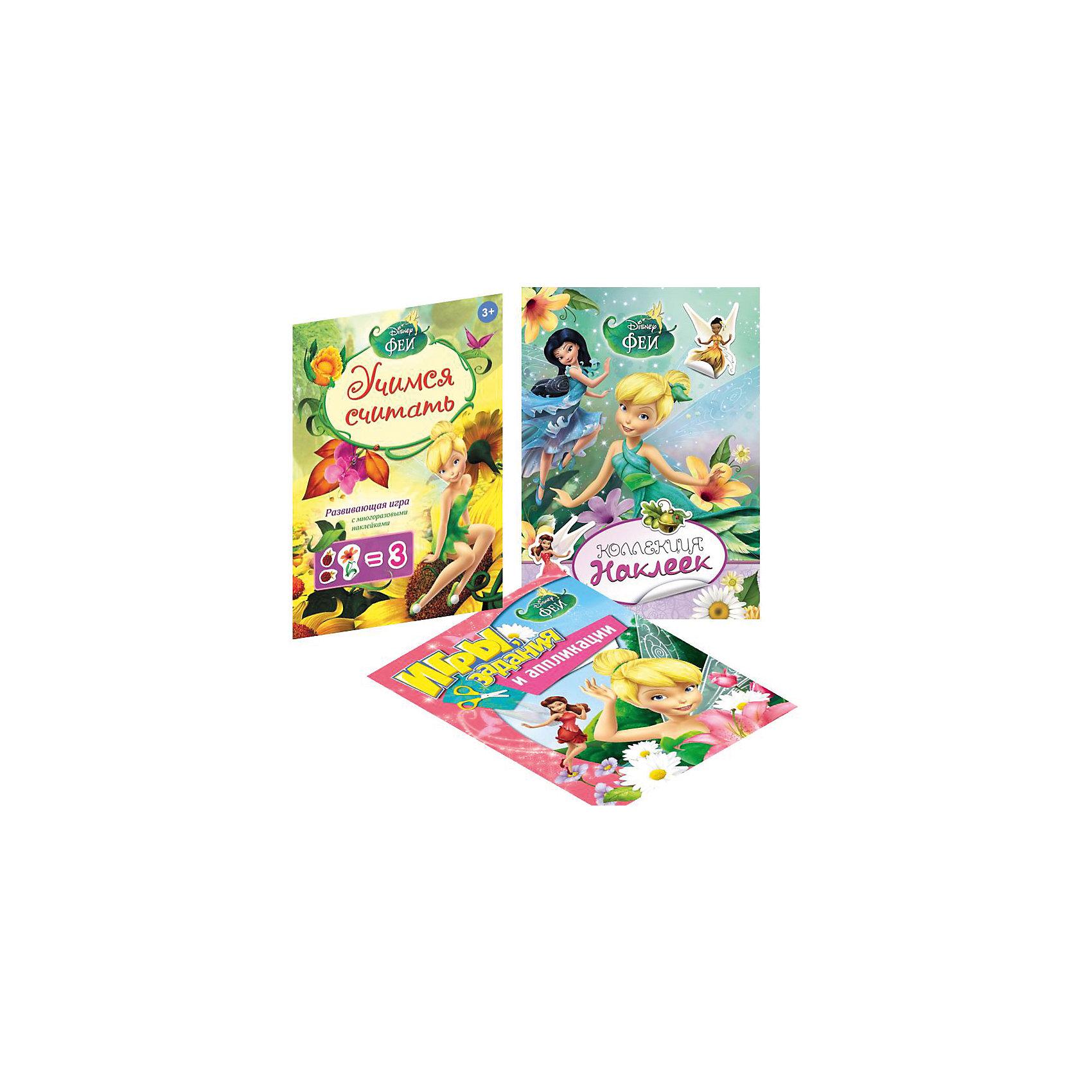 Комплект для девочек (наклейки, раскраски, игры)Росмэн<br>Комплект для девочек (наклейки, раскраски, игры) ? комплект от издательства Росмэн серии Disney Феи. Комплект состоит из трех изданий: коллекция наклеек Disney Феи (8 стр.); игры, задания и аппликации Disney Феи (16 стр.) и учимся считать (игра с наклейками) Disney Феи. Все издания выполнены с красочными иллюстрациями, персонажи Disney ? популярные среди девочек феи. Каждое издание сопровождается методическими рекомендациями по организации занятий. <br>Комплект для девочек (наклейки, раскраски, игры) разработан с учетом возрастных особенностей детей младшего школьного возраста, задания подобраны таким образом, что при выполнении формируется логическое мышление, развивается память, мелкая моторика, формируются навыки ручного труда. Для изготовления аппликаций в альбоме имеются все необходимые элементы. Наклейки многоразового использования, наклеиваются на любую поверхность. Игра «Учимся считать» познакомит ребенка с основными математическими действиями и сформирует первые представления в области математики. <br>Комплект для девочек (наклейки, раскраски, игры) ? это не только увлекательное развлечение, но и обучение, которое приносит удовольствие и радость вашему ребенку.<br><br>Дополнительная информация:<br><br>- Жанр книг: для развивающих занятий<br>- Предназначение: для дома <br>- Материал: плотная бумага, полимерные материалы<br>- Комплектация: 3 издания ? Коллекция наклеек Disney Феи; Игры, задания и аппликации Disney Феи; Учимся считать (игра с наклейками) Disney Феи.<br>- Размер (Д*Ш*В): 34*23,7*6 см<br><br>Подробнее:<br><br>• Для детей в возрасте: от 3 лет <br>• Издательство: Росмэн<br>• Страна производитель: Россия<br>• Год издания: 2014-2015<br><br>Комплект для девочек (наклейки, раскраски, игры) можно купить в нашем интернет-магазине.<br><br>Ширина мм: 340<br>Глубина мм: 237<br>Высота мм: 6<br>Вес г: 230<br>Возраст от месяцев: 0<br>Возраст до месяцев: 36<br>Пол: Женский<br>Возраст: Детский<br>SKU: 48