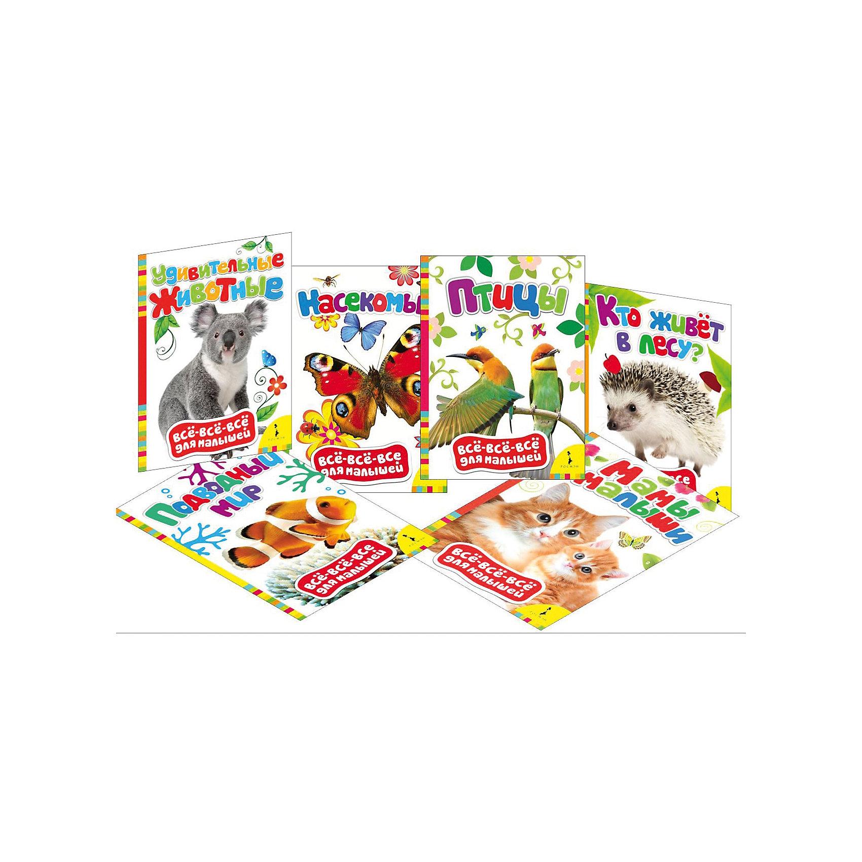 Комплект 6 обучающих книг о животныхКомплект 6 обучающих книги о животных ? это картонные книги-игрушки, выпущенные отечественным издательством Росмэн.  Комплект серии Все-все-все для малышей<br>состоит из шести книг Кто живет в лесу?, Мамы и малыши, Насекомые, Подводный мир, Птицы и Удивительные животные. Объем каждой книжки составляет 8 страниц. Книги знакомят самых маленьких с животными и особенностями их жизни. Яркие красочные фотографии и иллюстрации сопровождаются подписями, к каждой картинке имеются простые задания, направленные на развитие речи и расширение кругозора ребенка.<br><br>Дополнительная информация:<br><br>- Жанр книг: книги-игрушки<br>- Предназначение: для дома, для детских садов<br>- Серия: Все-все-все для малышей<br>- Материал: картонные книжки<br>- Комплектация: 6 книжек ? Кто живет в лесу?, Мамы и малыши, Насекомые, Подводный мир, Птицы и Удивительные животные<br>- Размер (Д*Ш*В): 22*16*2,3 см<br><br>Подробнее:<br><br>• Для детей в возрасте: от 0 месяцев <br>• Издательство: Росмэн<br>• Страна производитель: Россия<br><br>Комплект 6 обучающих книг о животных можно купить в нашем интернет-магазине.<br><br>Ширина мм: 220<br>Глубина мм: 160<br>Высота мм: 23<br>Вес г: 640<br>Возраст от месяцев: 0<br>Возраст до месяцев: 36<br>Пол: Унисекс<br>Возраст: Детский<br>SKU: 4870288