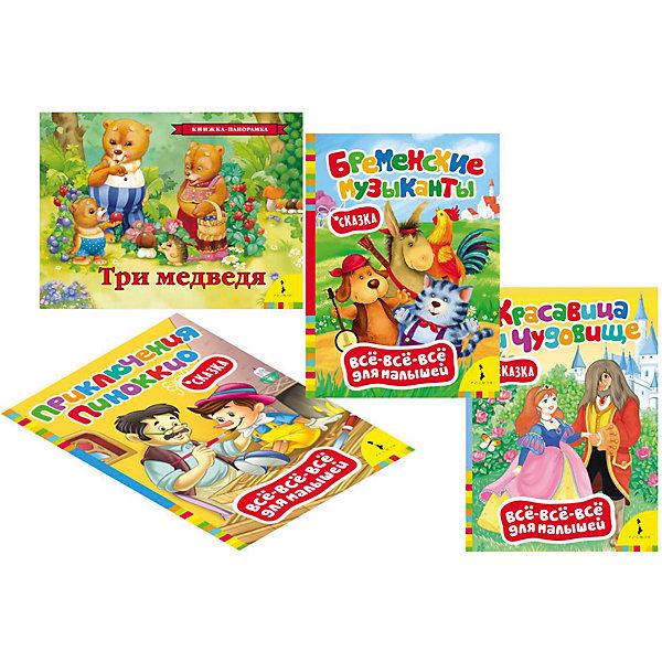 Комплект Классические сказки для самых маленькихСказки<br>Комплект Классические сказки для самых маленьких ? это картонные книги, выпущенные отечественным издательством Росмэн.  Комплект серии Все-все-все для малышей<br>состоит из четырех книг Приключения Пиноккио, Красавица и чудовище, Бременские музыканты, Три медведя (книга-панорамка). Объем каждой книжки составляет 8 страниц, кроме книги-панорамки Три медведя – 12 страниц. Этот комплект представляет собой подборку первых книг не только для чтения взрослыми детям, но и для рассматривания картинок. Яркие иллюстрации способствуют художественно-эстетическому развитию ребенка. А тексты сказок формируют представления о доброте и взаимовыручке. <br><br>Дополнительная информация:<br><br>- Жанр книг: сказки<br>- Предназначение: для дома, для детских садов<br>- Серия: Все-все-все для малышей<br>- Материал: картонные книжки<br>- Комплектация: 4 книжки ? Приключения Пиноккио, Красавица и чудовище, Бременские музыканты, Три медведя (панорамка)<br>- Размер (Д*Ш*В): 25,7*19,5*2,7 см<br><br>Подробнее:<br><br>• Для детей в возрасте: от 0 месяцев <br>• Издательство: Росмэн<br>• Страна производитель: Россия<br><br>Комплект Классические сказки для самых маленьких можно купить в нашем интернет-магазине.<br>Ширина мм: 257; Глубина мм: 195; Высота мм: 27; Вес г: 620; Возраст от месяцев: 0; Возраст до месяцев: 36; Пол: Унисекс; Возраст: Детский; SKU: 4870291;