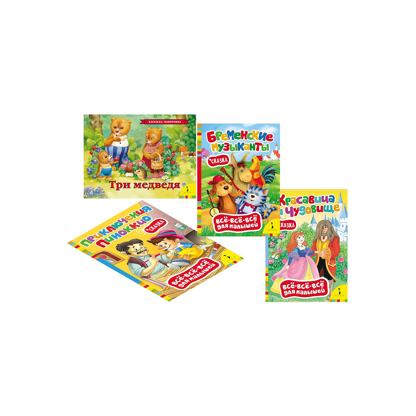 Комплект Классические сказки для самых маленькихСказки<br>Комплект Классические сказки для самых маленьких ? это картонные книги, выпущенные отечественным издательством Росмэн.  Комплект серии Все-все-все для малышей<br>состоит из четырех книг Приключения Пиноккио, Красавица и чудовище, Бременские музыканты, Три медведя (книга-панорамка). Объем каждой книжки составляет 8 страниц, кроме книги-панорамки Три медведя – 12 страниц. Этот комплект представляет собой подборку первых книг не только для чтения взрослыми детям, но и для рассматривания картинок. Яркие иллюстрации способствуют художественно-эстетическому развитию ребенка. А тексты сказок формируют представления о доброте и взаимовыручке. <br><br>Дополнительная информация:<br><br>- Жанр книг: сказки<br>- Предназначение: для дома, для детских садов<br>- Серия: Все-все-все для малышей<br>- Материал: картонные книжки<br>- Комплектация: 4 книжки ? Приключения Пиноккио, Красавица и чудовище, Бременские музыканты, Три медведя (панорамка)<br>- Размер (Д*Ш*В): 25,7*19,5*2,7 см<br><br>Подробнее:<br><br>• Для детей в возрасте: от 0 месяцев <br>• Издательство: Росмэн<br>• Страна производитель: Россия<br><br>Комплект Классические сказки для самых маленьких можно купить в нашем интернет-магазине.<br><br>Ширина мм: 257<br>Глубина мм: 195<br>Высота мм: 27<br>Вес г: 620<br>Возраст от месяцев: 0<br>Возраст до месяцев: 36<br>Пол: Унисекс<br>Возраст: Детский<br>SKU: 4870291