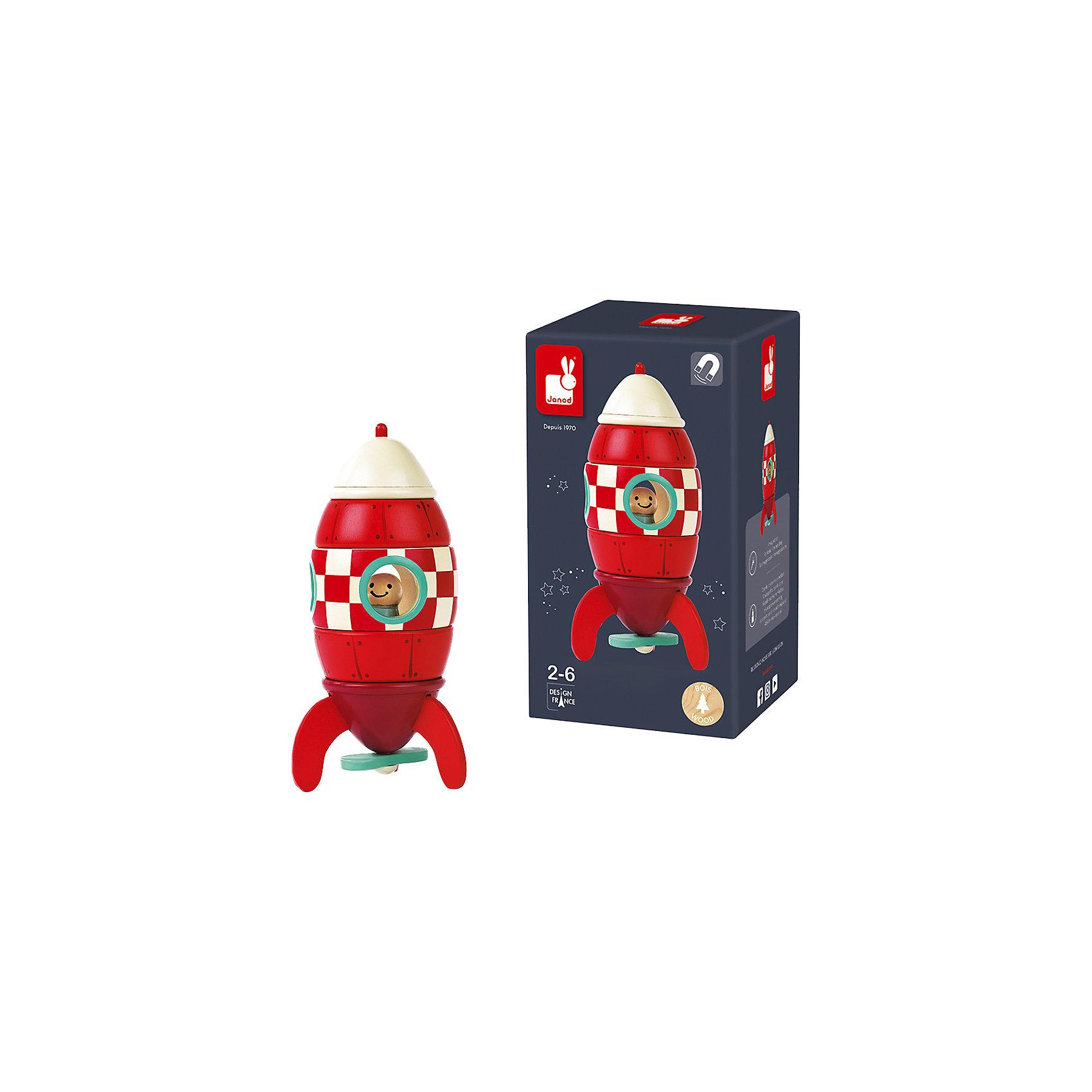 Конструктор магнитный Ракета, JanodМагнитные конструкторы<br>Игра с конструктором - любимое увлечение многих детей. Эта игра очень удобна - ее можно брать с собой в дорогу, благодаря продуманной форме хранится она очень компактно. Она развивает также мелкую моторику, внимание, творческие способности и цветовосприятие. Такая игра надолго занимает детей и помогает увлекательно провести время!<br>Набор состоит из 5 деревянных деталей, из которых собирается ракета. Игра разработана опытными специалистами, сделана из высококачественных материалов, безопасных для детей.<br><br>Дополнительная информация:<br><br>материал: дерево;<br>высота: 16,5 см;<br>в комплекте:5 деталей.<br><br>Конструктор магнитный Ракета от компании  Janod можно купить в нашем магазине.<br><br>Ширина мм: 13<br>Глубина мм: 13<br>Высота мм: 14<br>Вес г: 300<br>Возраст от месяцев: 24<br>Возраст до месяцев: 2147483647<br>Пол: Унисекс<br>Возраст: Детский<br>SKU: 4871765