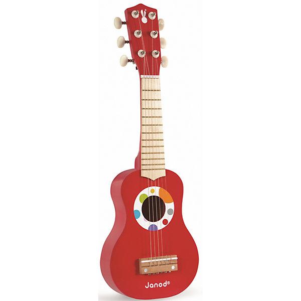 Гитара, красная, JanodДетские музыкальные инструменты<br>Развивать музыкальные способности можно с детства! Эта небольшая гитара очень удобна - ее можно брать с собой в дорогу, благодаря продуманной форме хранится она очень компактно. Игра на музыкальных инструментах развивает также мелкую моторику и художественный вкус. Такая гитара надолго занимает детей и помогает увлекательно провести время!<br>Гитара выглядит как настоящая - с настоящими струнами и колками. Она разработана опытными специалистами, сделана из высококачественных материалов, безопасных для детей.<br><br>Дополнительная информация:<br><br>материал: дерево, краски на водной основе;<br>размер: 28 х 7,4 х 75,5 см;<br>цвет: красный.<br><br>Гитару от компании Janod можно купить в нашем магазине.<br><br>Ширина мм: 20<br>Глубина мм: 7<br>Высота мм: 56<br>Вес г: 640<br>Возраст от месяцев: 36<br>Возраст до месяцев: 2147483647<br>Пол: Унисекс<br>Возраст: Детский<br>SKU: 4871770