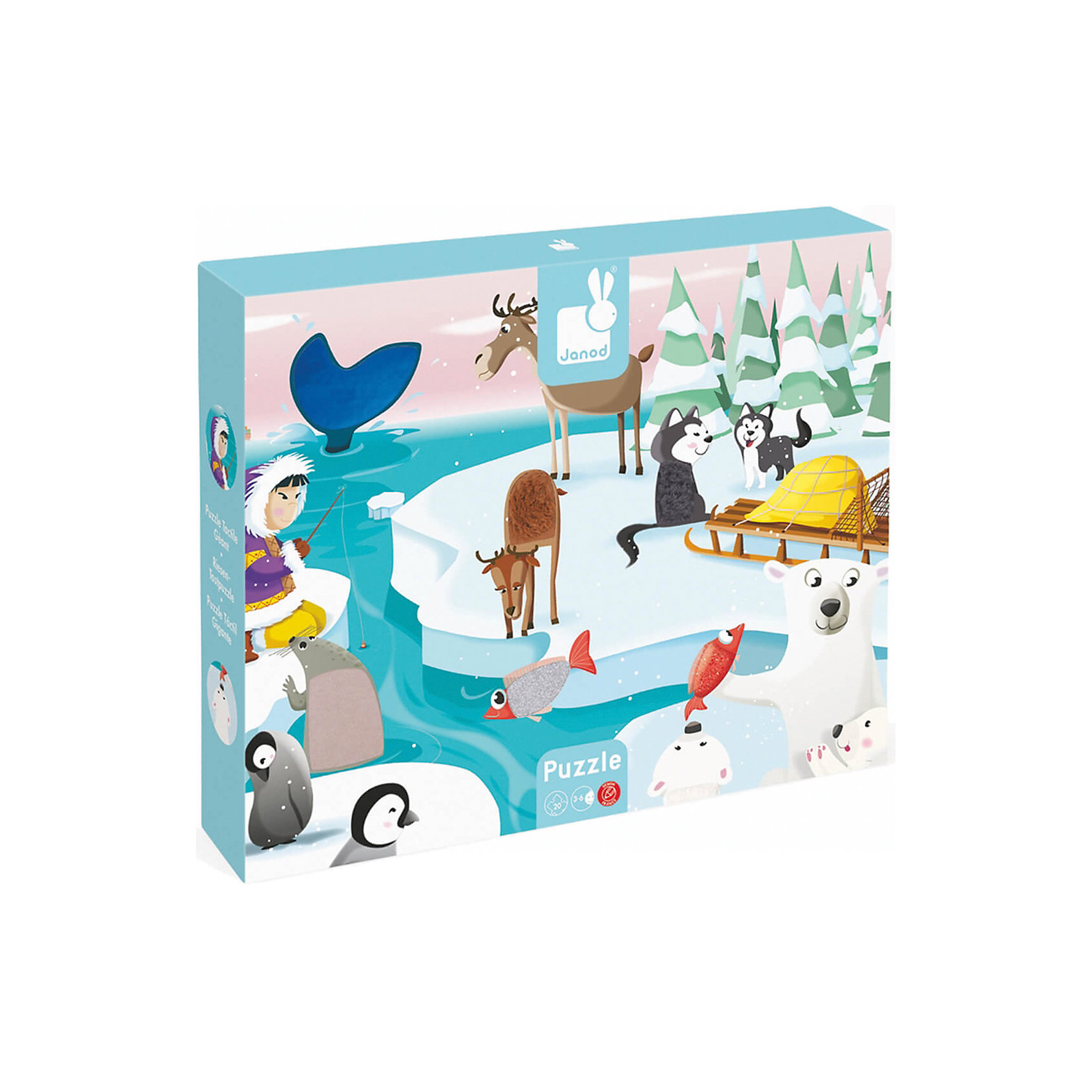 janod настольная игра с кубиками огород janod Janod Пазл с разными текстурами Жизнь на Севере, 20 деталей Janod