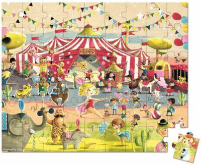 Пазл большой в круглом чемоданчике Цирк , 54 детали, Janod