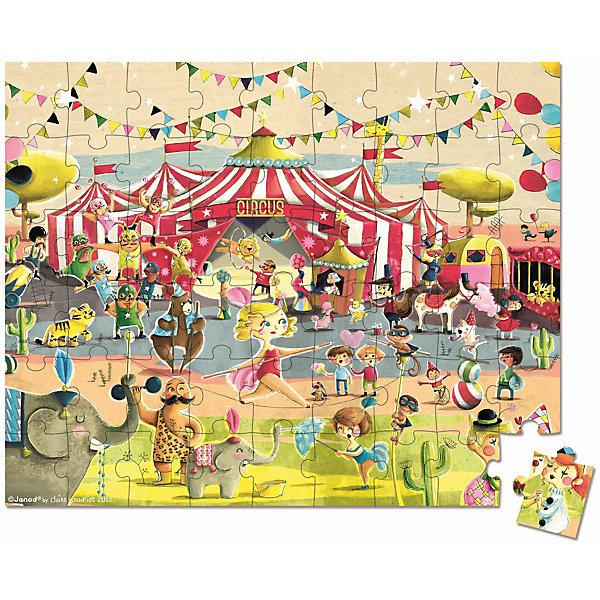 Пазл большой в круглом чемоданчике Цирк, 54 детали, JanodПазлы для малышей<br>Пазл большой в круглом чемоданчике Цирк, 54 детали, Janod (Жанод) ? игрушка-головоломка от французского бренда Janod. Пазлы от Janod (Жанод) отличает высокий художественный стиль, яркие краски, сочетаемость цветов и оттенков, простые, но добрые сюжеты и привлекательные изображения персонажей.<br>Пазл Цирк, Janod (Жанод) состоит из 54 элементов и представляет собой яркое красочное изображение шатра цирка с артистами и животными.  В собранном виде картинка пазл имеет размер 50x40 см. Задача ребенка заключается в том, чтобы собрать полное изображение. <br>Собирая пазлы,  ребенок развивает образное и логическое мышление, тренирует память и внимательность, приучается к усидчивости. При составлении рассказа по картинке ? развивает воображение и обучается связной речи.  <br>Пазл большой в круглом чемоданчике Цирк, 54 детали, Janod (Жанод) упакован в подарочный круглый чемоданчик с ручкой и замочком.<br><br>Дополнительная информация:<br><br>- Вид игр: игры-головоломки, сюжетно-ролевые<br>- Предназначение: для дома<br>- Материал: картон<br>- Комплектация: 54 элемента, чемоданчик<br>- Размер (Д*Ш*В): 23*7*22 см<br>- Вес: 700 г <br>- Пол: для девочек/для мальчиков<br>- Особенности ухода: можно протирать сухой губкой<br><br>Подробнее:<br><br>• Для детей в возрасте: от 5 лет <br>• Страна производитель: Китай<br>• Торговый бренд: Janod<br><br>Пазл большой в круглом чемоданчике Цирк, 54 детали, Janod (Жанод) можно купить в нашем интернет-магазине.<br><br>Ширина мм: 23<br>Глубина мм: 7<br>Высота мм: 22<br>Вес г: 700<br>Возраст от месяцев: 60<br>Возраст до месяцев: 2147483647<br>Пол: Унисекс<br>Возраст: Детский<br>SKU: 4871779