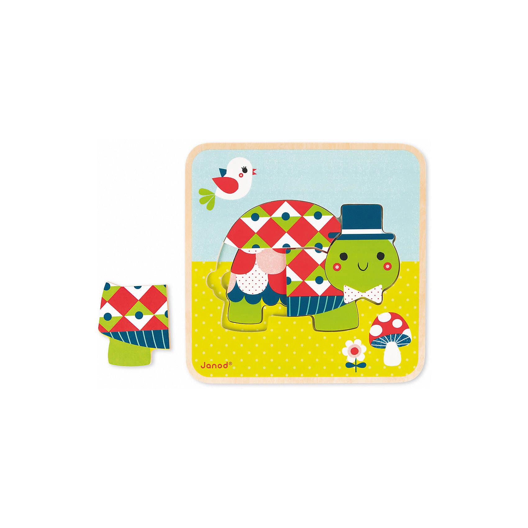 Пазл 3-х уровневый Черепашки,  JanodДеревянные пазлы<br>Пазл 3-х уровневый Черепашки, Janod (Жанод) ? игрушка-головоломка от французского бренда Janod. Пазлы от Janod (Жанод) отличает высокий художественный стиль, яркие краски, сочетаемость цветов и оттенков, простые, но добрые сюжеты и привлекательные изображения персонажей.<br>Пазл 3-х уровневый Черепашки – это инновационная разработка, представляющая собой пазл-вкладыш, который имеет три уровня сложности элементов. Всего в комплекте 9 элементов: на первом, самом простом, уровне собирается черепашонок из двух деталей, на втором – черепаха-мама из трех элементов и черепаха-папа состоит из четырех элементов. Задача ребенка заключается в том, чтобы собрать полное изображение каждого героя, при этом последующее изображение собирается поверх предыдущего. <br>Собирая пазлы,  ребенок развивает образное и логическое мышление, тренирует память и внимательность, приучается к усидчивости. При составлении рассказа по картинке ? развивает воображение и обучается связной речи.  <br>Пазл 3-х уровневый Черепашки, Janod (Жанод) упакован в картонную коробку, на которой имеется инструкция по сборке пазлов и образцы собранных изображений.<br><br>Дополнительная информация:<br><br>- Вид игр: игры-головоломки, сюжетно-ролевые<br>- Предназначение: для дома<br>- Материал: дерево<br>- Комплектация: 9 элементов, коробка<br>- Размер (Д*Ш*В): 25*25*4 см<br>- Вес: 580 г <br>- Пол: для девочек/для мальчиков<br>- Особенности ухода: можно протирать сухой губкой<br><br>Подробнее:<br><br>• Для детей в возрасте: от 2 лет <br>• Страна производитель: Китай<br>• Торговый бренд: Janod<br><br>Пазл 3-х уровневый Черепашки, Janod (Жанод) можно купить в нашем интернет-магазине.<br><br>Ширина мм: 25<br>Глубина мм: 4<br>Высота мм: 25<br>Вес г: 600<br>Возраст от месяцев: 24<br>Возраст до месяцев: 2147483647<br>Пол: Унисекс<br>Возраст: Детский<br>SKU: 4871783