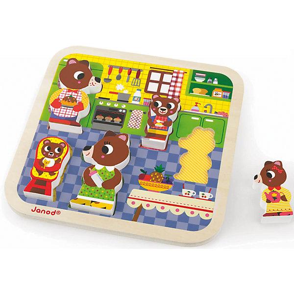 Пазл объемный Семья медвежат, 5 деталей, JanodПазлы для малышей<br>Пазл объемный Семья медвежат, Janod (Жанод) ? игрушка-головоломка от французского бренда Janod. Пазлы от Janod (Жанод) отличает высокий художественный стиль, яркие краски, сочетаемость цветов и оттенков, простые, но добрые сюжеты и привлекательные изображения персонажей.<br>Пазл объемный Семья медвежат – это объемный пазл с фигурками-вкладышами, которые изображают семейство медведей. Комплект состоит из деревянной рамки-основания, представляющей собой кухню с яркими атрибутами и мебелью. Размер рамки составляет 22x22x2,1 см. В рамке имеются углубления, в которые необходимо поставить соответствующую размерам фигурку медведя Всего в комплекте 5 фигурок: медведь-папа, медведь-мама и три медвежонка. <br>Собирая пазлы,  ребенок развивает образное и логическое мышление, тренирует память и внимательность, приучается к усидчивости. При составлении рассказа по картинке ? развивает воображение и обучается связной речи.  <br>Пазл объемный Семья медвежат, Janod (Жанод) изготовлен из дерева, все элементы имеют гладую поверхность, при изготовлении рамки и фигурок использованы гипоаллергенные краски.<br><br>Дополнительная информация:<br><br>- Вид игр: игры-головоломки, сюжетно-ролевые<br>- Предназначение: для дома<br>- Материал: дерево<br>- Комплектация: 5 элементов, рамка-основание<br>- Размер (Д*Ш*В): 22*22*2,1 см<br>- Вес: 400 г <br>- Пол: для девочек/для мальчиков<br>- Особенности ухода: можно протирать сухой губкой<br><br>Подробнее:<br><br>• Для детей в возрасте: от 2 лет <br>• Страна производитель: Китай<br>• Торговый бренд: Janod<br><br>Пазл объемный Семья медвежат, Janod (Жанод) можно купить в нашем интернет-магазине.<br>Ширина мм: 22; Глубина мм: 2; Высота мм: 22; Вес г: 400; Возраст от месяцев: 24; Возраст до месяцев: 2147483647; Пол: Унисекс; Возраст: Детский; SKU: 4871785;