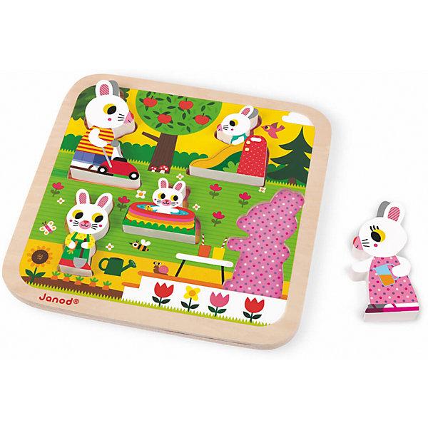 Пазл объемный Семья зайчат, 5 деталей, JanodПазлы для малышей<br>Пазл объемный Семья зайчат, Janod (Жанод) ? игрушка-головоломка от французского бренда Janod. Пазлы от Janod (Жанод) отличает высокий художественный стиль, яркие краски, сочетаемость цветов и оттенков, простые, но добрые сюжеты и привлекательные изображения персонажей.<br>Пазл объемный Семья зайчат – это объемный пазл с фигурками-вкладышами, которые изображают заячье семейство. Комплект состоит из деревянной рамки-основания, представляющей собой изображение садового участка. Размер рамки составляет 22x22x2,1 см. В рамке имеются углубления, в которые необходимо поставить соответствующую размерам фигурку зайца. Всего в комплекте 5 фигурок: папа, мама и три зайчонка. <br>Собирая пазлы,  ребенок развивает образное и логическое мышление, тренирует память и внимательность, приучается к усидчивости. При составлении рассказа по картинке ? развивает воображение и обучается связной речи.  <br>Пазл объемный Семья зайчат, Janod (Жанод) изготовлен из дерева, все элементы имеют гладую поверхность, при изготовлении рамки и фигурок использованы гипоаллергенные краски.<br><br>Дополнительная информация:<br><br>- Вид игр: игры-головоломки, сюжетно-ролевые<br>- Предназначение: для дома<br>- Материал: дерево<br>- Комплектация: 5 элементов, рамка-основание<br>- Размер (Д*Ш*В): 22*22*2,1 см<br>- Вес: 400 г <br>- Пол: для девочек/для мальчиков<br>- Особенности ухода: можно протирать сухой губкой<br><br>Подробнее:<br><br>• Для детей в возрасте: от 2 лет <br>• Страна производитель: Китай<br>• Торговый бренд: Janod<br><br>Пазл объемный Семья зайчат, Janod (Жанод) можно купить в нашем интернет-магазине.<br><br>Ширина мм: 22<br>Глубина мм: 2<br>Высота мм: 22<br>Вес г: 400<br>Возраст от месяцев: 24<br>Возраст до месяцев: 2147483647<br>Пол: Унисекс<br>Возраст: Детский<br>SKU: 4871787