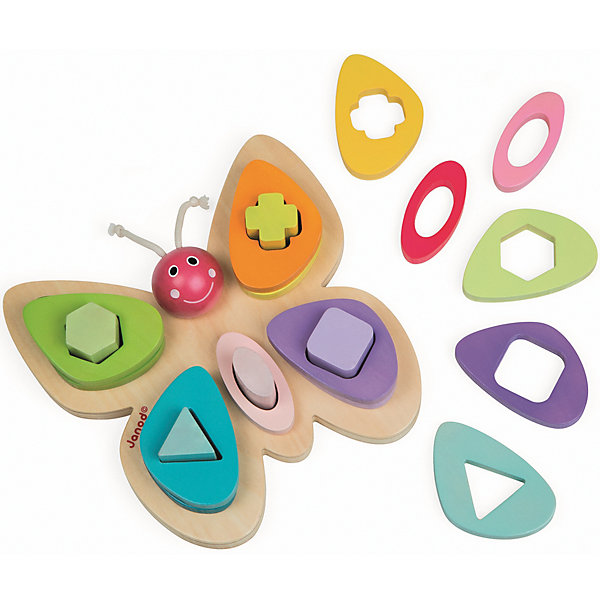 Сортер-пирамидка Бабочка, JanodРазвивающие игрушки<br>Сортер-пирамидка Бабочка, Janod (Жанод) ? игрушка-пирамидка от французского бренда Janod для детей от одного года. Пирамидки от Janod (Жанод) выполнены из натуральной древесины, элементы окрашены яркими красками на водной основе, продуманный механизм защиты стрежня основания (сгибается при надавливании) делает пирамидку безопасной даже для самых маленьких.<br>Сортер-пирамидка Бабочка – это пирамидка, состоящая из 5 основания в форме бабочки с большими крыльями. На каждом крыле имеется выступающая часть в форме различных фигкр: квадрат, шестиугольник, крест и треугольник; на тельце бабочки выступающпя часть в форме овала. В комплекте к основанию прилагаются 15 разноцветных элементов с отверстиями. Задача ребенка заключается в подборе элемента с отверстиями к соответствующей выступающей фигуре на бабочке.<br>Собирая пирамидку,  ребенок развивает образное и логическое мышление, тренирует память и внимательность, приучается к усидчивости. <br>Сортер-пирамидка Бабочка, Janod (Жанод) многофункциональна: с помощью пирамидки ребенок научится различать основные цвета и познакомится с различными геометрическими фигурами.<br><br>Дополнительная информация:<br><br>- Вид игр: игры-головоломки<br>- Предназначение: для дома<br>- Материал: дерево<br>- Комплектация: 15 разноцветных элементов, основание-бабочка<br>- Размер (Д*Ш*В): 10,5*18*10,5 см<br>- Вес: 500 г <br>- Пол: для девочек<br>- Особенности ухода: можно протирать сухой губкой<br><br>Подробнее:<br><br>• Для детей в возрасте: от 1 года <br>• Страна производитель: Китай<br>• Торговый бренд: Janod<br><br>Сортер-пирамидку Бабочка, Janod (Жанод) можно купить в нашем интернет-магазине.<br><br>Ширина мм: 20<br>Глубина мм: 5<br>Высота мм: 20<br>Вес г: 550<br>Возраст от месяцев: 24<br>Возраст до месяцев: 2147483647<br>Пол: Унисекс<br>Возраст: Детский<br>SKU: 4871790