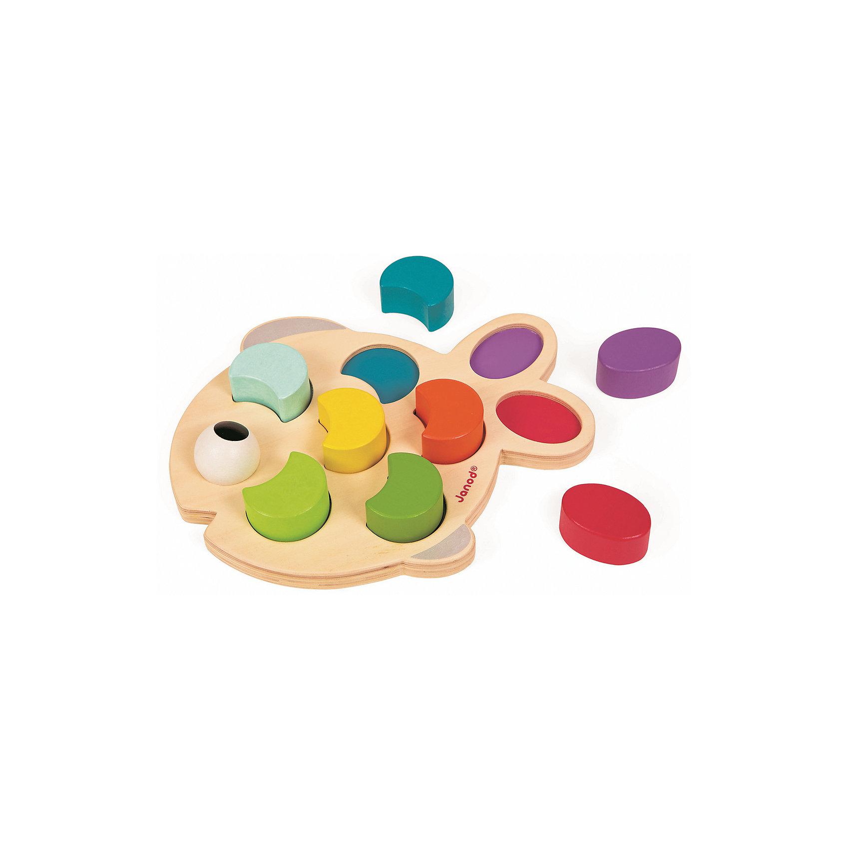 Сортер Рыбка, JanodРазвивающие игрушки<br>Сортер Рыбка, Janod (Жанод) ? игрушка от французского бренда Janod для детей старше одного года. Сортер от Janod (Жанод) выполнен из натуральной древесины, элементы окрашены яркими красками на водной основе и меют гладкую поверхность.<br>Сортер Рыбка состоит из основания в форме рыбки, на котором имеются отверстия под объемные вкладыши-элементы. Вкладыши выполнены в форме разноцветных чешуек. В комплекте прилагаются 7 разноцветных объемных чешуек в форме полумесяца, два элемента в форме овала и круглый глаз.<br>Сортер Рыбка, Janod (Жанод) многофункциональна: с помощью игрушки ребенок научится различать основные цвета и познакомится с различными геометрическими фигурами.<br>Собирая пирамидку,  ребенок развивает образное и логическое мышление, тренирует память и внимательность, приучается к усидчивости, у него развивается мелкая моторика и тактильное восприятие. <br><br>Дополнительная информация:<br><br>- Вид игр: игры-головоломки<br>- Предназначение: для дома<br>- Материал: дерево<br>- Комплектация: 9 разноцветных элементов, основание-рыбка<br>- Размер (Д*Ш*В): 29*4,6*20 см<br>- Вес: 450 г <br>- Пол: для девочек/для мальчиков<br>- Особенности ухода: можно протирать сухой губкой<br><br>Подробнее:<br><br>• Для детей в возрасте: от 1,5 лет <br>• Страна производитель: Китай<br>• Торговый бренд: Janod<br><br>Сортер Бабочка, Janod (Жанод) можно купить в нашем интернет-магазине.<br><br>Ширина мм: 29<br>Глубина мм: 4<br>Высота мм: 20<br>Вес г: 450<br>Возраст от месяцев: 24<br>Возраст до месяцев: 2147483647<br>Пол: Унисекс<br>Возраст: Детский<br>SKU: 4871791