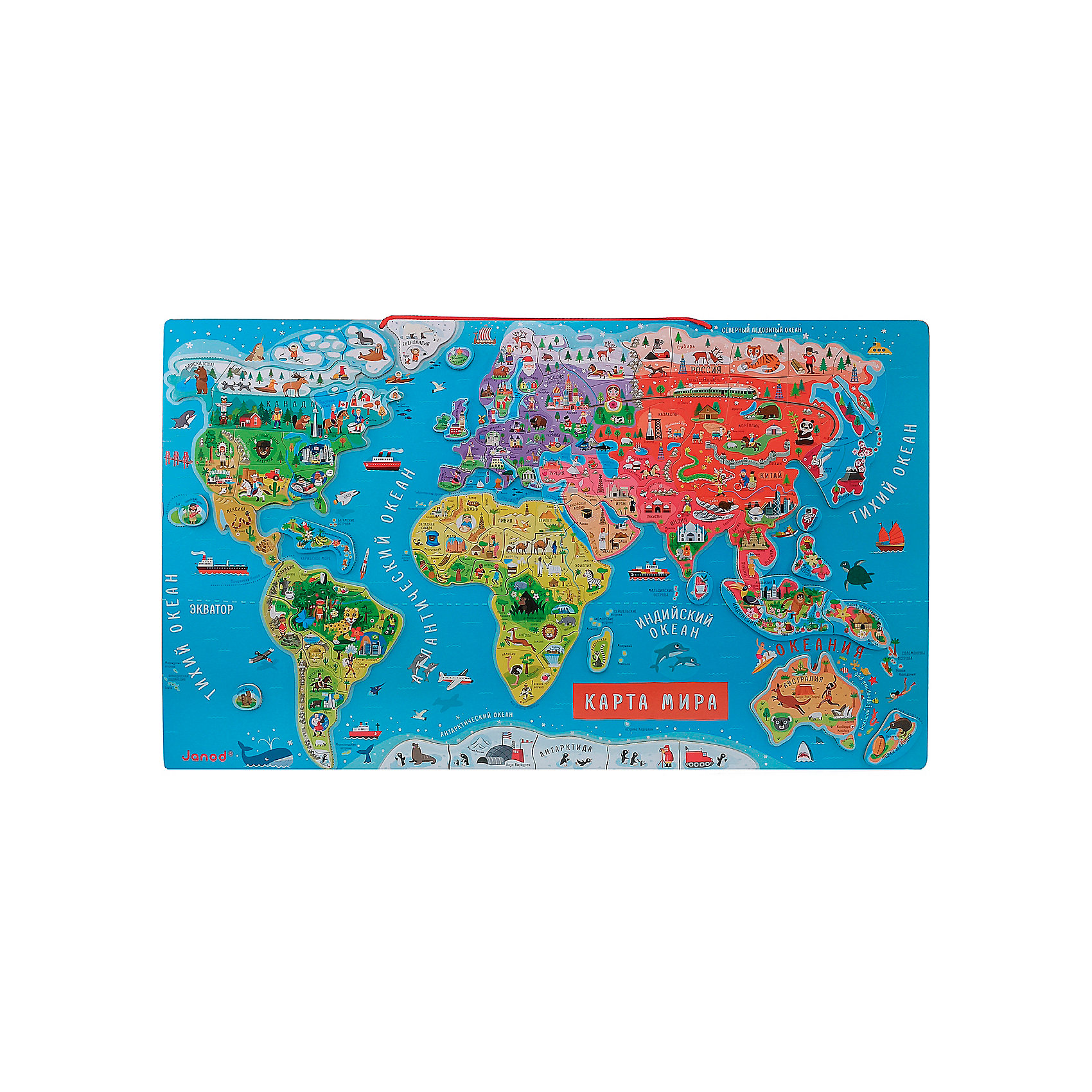 Карта мира с магнитными пазлами, 92 детали, JanodКарта мира с магнитными пазлами, 92 детали, Janod, (Жанод) ? пазл-головоломка от французского бренда Janod, предназначенный для детей в возрасте от 5 лет. Пазлы от Janod (Жанод) отличает высокий художественный стиль, яркие краски, сочетаемость цветов и оттенков. Все элементы выполнены из натурального дерева, окрашены красками на водной основе, имеют гладкую поверхность.<br>Карта мира с магнитными пазлами, 92 детали, Janod (Жанод) состоит из карты-основания, на которую нанесены контуры всех материков. Карту можно положить на ровную поверхность или повесить на стену. В комплекте прилагаются 92 элемента на магнитах, на которых изображены моря, реки, острова, животный и растительных мир. Также имеются названия стран и городов на русском языке. Изучение географии с Картой мира с магнитными пазлами от Жанот станет увлекательным и любимым занятием не только дошкольника, но и ученика начальной школы. Карта может стать ярким элементом в оформлении домашнего уголка школьника.<br>Карта мира с магнитными пазлами, 92 детали, Janod (Жанод) расширяет кругозор ребенка, развивает зрительную память и тактильные ощущения. Набор упакован в картонную коробку с ручкой.<br><br>Дополнительная информация:<br><br>- Вид игр: игры-головоломки<br>- Предназначение: для дома, для детских садов, для детских развивающих центров, для начальной школы<br>- Материал: дерево<br>- Комплектация: 92 элемента, рамка-основание<br>- Размер (Д*Ш*В): 77*1*46 см<br>- Вес: 3 кг <br>- Пол: для девочек/для мальчиков<br>- Особенности ухода: можно протирать сухой губкой<br><br>Подробнее:<br><br>• Для детей в возрасте: от 5 лет <br>• Страна производитель: Китай<br>• Торговый бренд: Janod<br><br>Карту мира с магнитными пазлами, 92 детали, Janod (Жанод) можно купить в нашем интернет-магазине.<br><br>Ширина мм: 77<br>Глубина мм: 1<br>Высота мм: 46<br>Вес г: 3000<br>Возраст от месяцев: 84<br>Возраст до месяцев: 2147483647<br>Пол: Унисекс<br>Возраст: Детский<br>SKU: 4871792