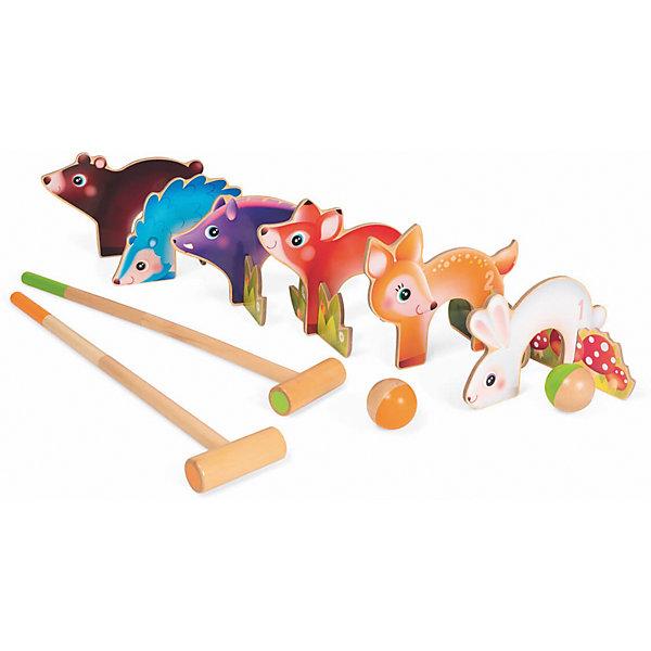 Крокет Лесные животные, JanodСпортивные настольные игры<br>Крокет Лесные животные, Janod (Жанод) ? набор предназначен как для одиночной игры, так и для игр в паре для детей старше 3-х лет. Весь игровой комплект выполнен из натурального дерева, окрашенного красками на водной основе. <br>Крокет Лесные животные, Janod (Жанод) состоит из 2-х шаров, 2-молотков и 6-ти калиток в форме разных зверят: медведь, заяц, кабан, ежик, олень и лиса. Данный набор позаолит играть как в классичекий крокет, так и в другие его виды. <br>Крокет Лесные животные, Janod (Жанод) позволит развивать у ребенка координацию движения и концентрацию внимания, учит играть совместно с другими детьми, соблюдать требования и правила. <br> <br>Дополнительная информация:<br><br>- Вид игр: спортивные (подвижные)<br>- Предназначение: для дома, для улицы<br>- Материал: дерево<br>- Комплектация: 5 калиток, 2 шара, 2 молотка<br>- Размер упаковки (Д*Ш*В): 32*0,8*32 см<br>- Вес всего комплекта: 1 кг 500 г<br>- Особенности ухода: разрешается протирать сухой губкой<br><br>Подробнее:<br><br>• Для детей в возрасте: от 3 лет<br>• Страна производитель: Китай<br>• Торговый бренд: Janod <br><br>Крокет Лесные животные, Janod (Жанод) можно купить в нашем интернет-магазине.<br><br>Ширина мм: 32<br>Глубина мм: 8<br>Высота мм: 32<br>Вес г: 1500<br>Возраст от месяцев: 36<br>Возраст до месяцев: 2147483647<br>Пол: Унисекс<br>Возраст: Детский<br>SKU: 4871793