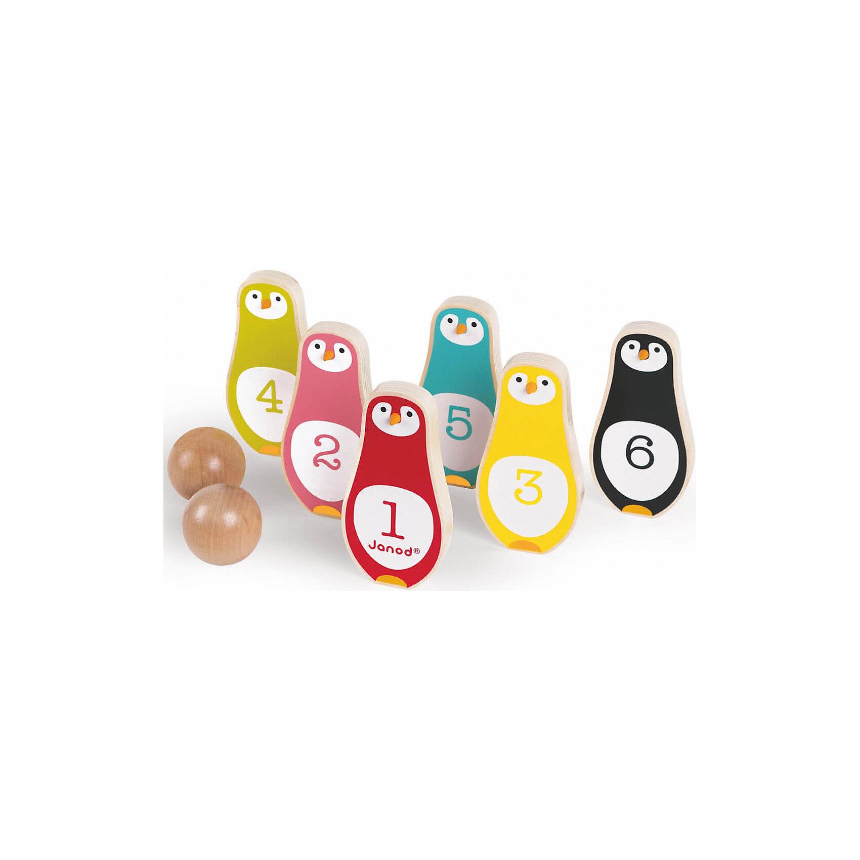 Боулинг Пингвины, JanodБоулинг Пингвины, Janod (Жанод) ? набор предназначен как для одиночной игры, так и для групповых игр. Игровой комплект выполнен из натурального дерева, окрашенного гипоаллергенными красками на водной основе. <br>Боулинг Пингвины, Janod (Жанод) состоит из шести кеглей в форме забавных пингвинов разного цвета: желтый, красный, розовый, зеленый, черный, голубой. На животике у каждого пингвина нанесена цифра от 1 до 6.  В комплекте имеются 2 деревянных шара. Играя в боулинг, ребенок развивает координацию движений, концентрацию внимания, учится играть совместно с другими детьми, соблюдать требования и правила. Кроме того, в процессе игры, научится различать цвета и считать до 6-ти.<br>Боулинг Пингвины, Janod (Жанод) упакован в текстильный мешок с завязками, поэтому его не только удобно хранить, но и брать с собой на прогулку или в путешествия.<br> <br>Дополнительная информация:<br><br>- Вид игр: спортивные (подвижные)<br>- Предназначение: для дома, для улицы<br>- Материал: дерево, текстиль <br>- Комплектация: 6 кеглей, 2 шара, мешок<br>- Вес всего комплекта: 410 г<br>- Размер всей упаковки (Д*Ш*В): 15,5*7*20 см<br>- Особенности ухода: разрешается протирать сухой губкой<br><br>Подробнее:<br><br>• Для детей в возрасте: от 3 лет<br>• Страна производитель: Китай<br>• Торговый бренд: Janod<br><br>Боулинг Пингвины, Janod (Жанод) можно купить в нашем интернет-магазине.<br><br>Ширина мм: 15<br>Глубина мм: 7<br>Высота мм: 20<br>Вес г: 500<br>Возраст от месяцев: 36<br>Возраст до месяцев: 2147483647<br>Пол: Унисекс<br>Возраст: Детский<br>SKU: 4871794