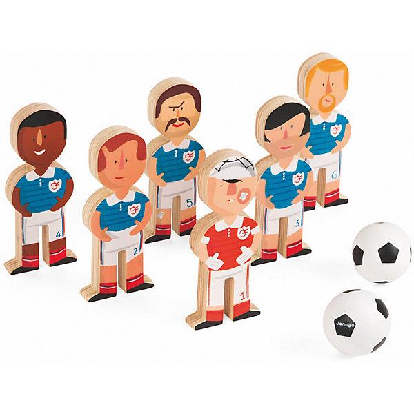 Боулинг Футболисты, JanodСпортивные настольные игры<br>Боулинг Футболисты, Janod (Жанод) ? набор предназначен как для одиночной игры, так и для групповых игр. Игровой комплект выполнен из натурального дерева, окрашенного гипоаллергенными красками на водной основе. <br>Боулинг Футболисты, Janod (Жанод) состоит из шести кеглей, 5 из них  в форме футболистов и один в форме вратаря. На ногах у каждого футболиста нанесена цифра от 1 до 6.  В комплекте имеются 2 деревянных шара в форме футбольных мячей. Играя в боулинг, ребенок развивает координацию движений, концентрацию внимания, учится играть совместно с другими детьми, соблюдать требования и правила. Кроме того, в процессе игры, научится различать цвета и считать до 6-ти.<br>Боулинг Футболисты, Janod (Жанод) упакован в текстильный мешок с завязками, поэтому его не только удобно хранить, но и брать с собой на прогулку или в путешествия.<br> <br>Дополнительная информация:<br><br>- Вид игр: спортивные (подвижные)<br>- Предназначение: для дома, для улицы<br>- Материал: дерево, текстиль <br>- Комплектация: 6 кеглей, 2 шара, мешок<br>- Вес всего комплекта: 320 г<br>- Размер всей упаковки (Д*Ш*В): 15*6*17 см<br>- Особенности ухода: разрешается протирать сухой губкой<br><br>Подробнее:<br><br>• Для детей в возрасте: от 3 лет<br>• Страна производитель: Китай<br>• Торговый бренд: Janod<br><br>Боулинг Футболисты, Janod (Жанод) можно купить в нашем интернет-магазине.<br>Ширина мм: 14; Глубина мм: 5; Высота мм: 17; Вес г: 350; Возраст от месяцев: 36; Возраст до месяцев: 2147483647; Пол: Унисекс; Возраст: Детский; SKU: 4871795;