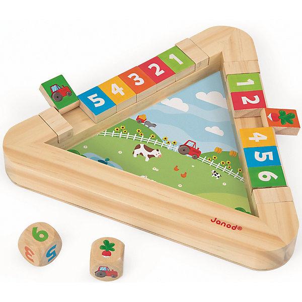 Настольная игра с кубиками Огород, JanodОкружающий мир<br>Настольная игра с кубиками Огород, Janod (Жанод) ? набор предназначен для парной игры детей в возрасте от 3-х лет. Игровой комплект выполнен из натурального дерева, окрашенного гипоаллергенными красками на водной основе. <br>Настольная игра с кубиками Огород, Janod (Жанод) состоит игрового поля, выполненного в форме треугольника. На дне треугольника имеется картинка, изображающая огород. На бортиках треугольника расположены 12 квадратиков, с одной стороны у которых цифры, с другой, – картинки. Игра имеет три варианта: от самого простого для детей помладше, до сложного для более старших детей. Игра Огород,прежде всего, направлена на развитие внимательности и зрительной памяти. Кроме того, ребенок учится играть совместно с другими детьми, соблюдать требования и правила. <br>Настольная игра с кубиками Огород, Janod упакована в картонную коробку, имеет компактный формат, поэтому ее удобно брать с собой в путешествия.<br> <br>Дополнительная информация:<br><br>- Вид игр: обучающие, развивающие<br>- Предназначение: для дома<br>- Материал: дерево<br>- Комплектация: игровое поле, 12 кубиков, 1 кость с цифрами, 1 кость с картинками<br>- Вес: 420 г<br>- Размер всей упаковки (Д*Ш*В): 22,5*4*22,5 см<br>- Особенности ухода: разрешается протирать сухой губкой<br><br>Подробнее:<br><br>• Для детей в возрасте: от 3 лет<br>• Страна производитель: Китай<br>• Торговый бренд: Janod<br><br>Настольную игру с кубиками Огород, Janod (Жанод) можно купить в нашем интернет-магазине.<br>Ширина мм: 25; Глубина мм: 25; Высота мм: 4; Вес г: 300; Возраст от месяцев: 36; Возраст до месяцев: 2147483647; Пол: Унисекс; Возраст: Детский; SKU: 4871796;