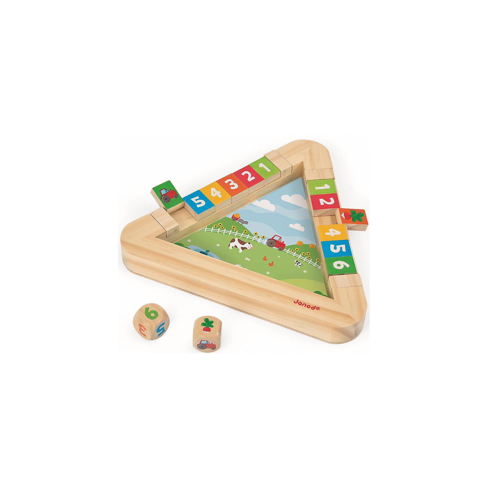 Настольная игра с кубиками Огород, JanodНастольная игра с кубиками Огород, Janod (Жанод) ? набор предназначен для парной игры детей в возрасте от 3-х лет. Игровой комплект выполнен из натурального дерева, окрашенного гипоаллергенными красками на водной основе. <br>Настольная игра с кубиками Огород, Janod (Жанод) состоит игрового поля, выполненного в форме треугольника. На дне треугольника имеется картинка, изображающая огород. На бортиках треугольника расположены 12 квадратиков, с одной стороны у которых цифры, с другой, – картинки. Игра имеет три варианта: от самого простого для детей помладше, до сложного для более старших детей. Игра Огород,прежде всего, направлена на развитие внимательности и зрительной памяти. Кроме того, ребенок учится играть совместно с другими детьми, соблюдать требования и правила. <br>Настольная игра с кубиками Огород, Janod упакована в картонную коробку, имеет компактный формат, поэтому ее удобно брать с собой в путешествия.<br> <br>Дополнительная информация:<br><br>- Вид игр: обучающие, развивающие<br>- Предназначение: для дома<br>- Материал: дерево<br>- Комплектация: игровое поле, 12 кубиков, 1 кость с цифрами, 1 кость с картинками<br>- Вес: 420 г<br>- Размер всей упаковки (Д*Ш*В): 22,5*4*22,5 см<br>- Особенности ухода: разрешается протирать сухой губкой<br><br>Подробнее:<br><br>• Для детей в возрасте: от 3 лет<br>• Страна производитель: Китай<br>• Торговый бренд: Janod<br><br>Настольную игру с кубиками Огород, Janod (Жанод) можно купить в нашем интернет-магазине.<br><br>Ширина мм: 25<br>Глубина мм: 25<br>Высота мм: 4<br>Вес г: 300<br>Возраст от месяцев: 36<br>Возраст до месяцев: 2147483647<br>Пол: Унисекс<br>Возраст: Детский<br>SKU: 4871796