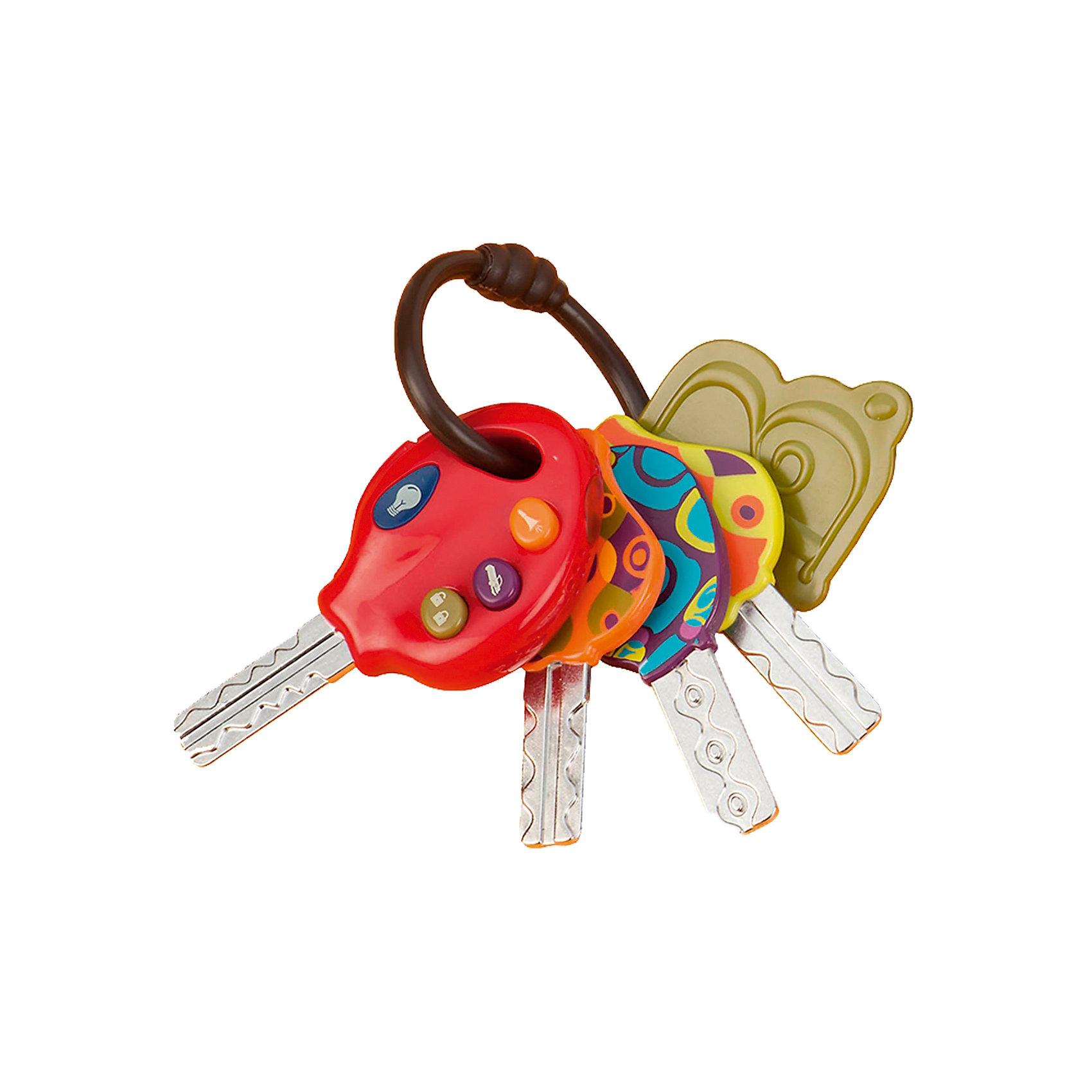 Набор электроных ключиков, B DOTПрорезыватели<br>Набор электроных ключиков, B DOT  (Би Дот)  ? игрушка от канадской компании Battat. Торговый бренд B DOT  (Би Дот) – это новое поколение игрушек, отличающихся своей многофункциональностью, реалистичностью и экологически безопасными материалами. Набор ключиков предназначен для детей старше 1 года. <br>Набор электроных ключиков, B DOT  (Би Дот) – это 4 ключика на одном кольце. Каждый ключик имеет ярко раскрашенную головку и стержень, на который нанесены различные вдавленные узоры-линии, имитирующие рисунок настоящих ключей. На одном из ключей имеются кнопки, при нажатии на которые издаются различные звуки: звук открывающейся двери, звонок, гудок и зажигание автомобиля. Также на ключе при нажатии на кнопки начинают мигать огоньки. На кольце вместе с ключами имеется прорезыватель для зубов. <br>Набор электроных ключиков, B DOT  (Би Дот)  способствует развитию тактильного восприятия, развивает воображение и фантазию.<br> <br>Дополнительная информация:<br><br>- Вид игр: обучающие, развивающие<br>- Предназначение: для дома<br>- Материал: пластик, нержавеющая сталь<br>- Комплектация: 4 ключа, прорезыватель, батарейки<br>- Батарейки: 2 шт. ААА<br>- Вес: 270 г<br>- Размер всей упаковки (Д*Ш*В): 21*6*16 см<br>- Особенности ухода: разрешается мыть в теплой мыльной воде<br><br>Подробнее:<br><br>• Для детей в возрасте: от 3 лет<br>• Страна производитель: Китай<br>• Торговый бренд: B DOT<br><br>Набор электроных ключиков, B DOT  (Би Дот)  можно купить в нашем интернет-магазине.<br><br>Ширина мм: 15<br>Глубина мм: 21<br>Высота мм: 6<br>Вес г: 300<br>Возраст от месяцев: 5<br>Возраст до месяцев: 2147483647<br>Пол: Унисекс<br>Возраст: Детский<br>SKU: 4871797
