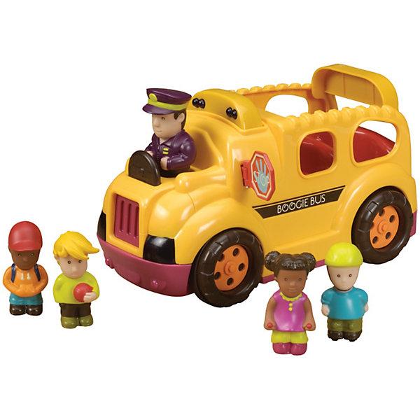 Школьный автобус, B DOTМашинки<br>Школьный автобус, B DOT  (Би Дот)  ? игрушка от канадской компании Battat. Торговый бренд B DOT  (Би Дот) – это новое поколение игрушек, отличающихся своей многофункциональностью, реалистичностью и экологически безопасными материалами. <br>Школьный автобус, B DOT  (Би Дот) – это интерактивная игрушка, имитирующая звуки, движение и реалистичный сюжет. Автомобиль приводится в движение от нажатия на водителя. Сопровождается звуковыми эффектами движущегося автобуса и разговорами пассажиров в салоне автобуса. Если на пути встречается препятствие, тогда автобус отъезжает назад. Высаживать пассажиров можно через откидывающуюся заднюю дверь. Автобус оснащен системой автоматического отключения.<br>Школьный автобус, B DOT  (Би Дот) способствует развитию координации движений, слухового восприятия, воображения и фантазии. Сюжетно-ролевые игры со школьным автобусом оказывают влияние на речевое развитие ребенка. <br> <br>Дополнительная информация:<br><br>- Вид игр: сюжетно-ролевые<br>- Предназначение: для дома<br>- Материал: экологически безопасный пластик, полимер<br>- Комплектация: автобус, водитель и 4 пассажира, батарейки<br>- Батарейки: 3 шт. АА<br>- Вес: 1 кг 110 г<br>- Размер всей упаковки (Д*Ш*В): 23,5*12*13,5 см<br>- Особенности ухода: разрешается мыть в теплой мыльной воде<br><br>Подробнее:<br><br>• Для детей в возрасте: от 1,5 лет<br>• Страна производитель: Китай<br>• Торговый бренд: B DOT<br><br>Школьный автобус, B DOT  (Би Дот)  можно купить в нашем интернет-магазине.<br><br>Ширина мм: 29<br>Глубина мм: 14<br>Высота мм: 15<br>Вес г: 1110<br>Возраст от месяцев: 24<br>Возраст до месяцев: 2147483647<br>Пол: Унисекс<br>Возраст: Детский<br>SKU: 4871798
