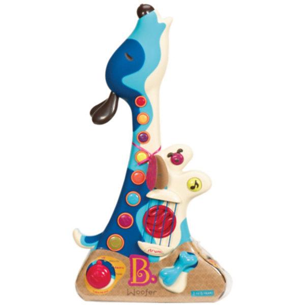 Игрушка Гитара, B DOTДетские музыкальные инструменты<br>Игрушка Гитара, B DOT (Би Дот) ? игрушка из серии музыкальных инструментов от канадского торгового бренда B DOT. Гитара выполнена из безопасного пластика в форме забавной собачки. На корпусе имеются струны, микшер и кнопки разных размеров и цветов, каждая из которых обладает своим функционалом – для проигрывание мелодий и песен, для регулировки звука, для переключения режимов. В музыкальной игрушке предусмотрено три режима игры: песни щенка, электрическая гитара и аккустическая. Всего в гитаре записано 29 песен, 9 из которых песни щенка. Кроме того, 8 кнопок позволяют сыграть свою авторскую мелодию. В комплекте с гитарой имеется сборник песен. <br>Гитара предназначена для детей в возрасте от 2 лет. Ее длина составляет 46 см. У гитары имеется ремень. Игра на гитаре способствует формированию музыкального слуха и чувства ритма, развивает координацию движений.<br><br>Дополнительная информация:<br><br>- Вид игр: музыкальные<br>- Предназначение: для дома, для детского сада<br>- Материал: пластик<br>- Цвет: голубой<br>- Длина гитары: 46 см<br>- Вес: 1 кг 300 г<br>- Пол: для мальчиков<br>- Особенности ухода: можно протирать сухой губкой<br><br>Подробнее:<br><br>• Для детей в возрасте: от 2 лет <br>• Страна производитель: Китай<br>• Торговый бренд: B DOT<br><br>Игрушку Гитара, B DOT (Би Дот)  можно купить в нашем интернет-магазине.<br><br>Ширина мм: 46<br>Глубина мм: 24<br>Высота мм: 9<br>Вес г: 1300<br>Возраст от месяцев: 24<br>Возраст до месяцев: 2147483647<br>Пол: Унисекс<br>Возраст: Детский<br>SKU: 4871804
