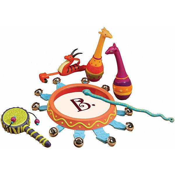 Набор погремушек Мелодия джунглей, B DOTИгрушки для новорожденных<br>Набор погремушек Мелодия джунглей, B DOT (Би Дот) из серии музыкальных инструментов от канадского торгового бренда B DOT. Набор выполнен из экологичсеки безопасного пластика, окрашенного в яркие цвета, предназначен для детей от 2-х лет. <br>Набор погремушек Мелодия джунглей, B DOT (Би Дот) состоит из струнных, ударных, клавишных и духовых инструментов. Всего их в комплекте 13. Все инструменты выполнены в форме животных джунглей. Данный набор позволит познакомиться ребенку с различными видами инструментов и научит различать их звучание.<br>Набор погремушек Мелодия джунглей, B DOT (Би Дот) способствует формированию музыкального слуха и чувства ритма, развивает координацию движений и слуховое восприятие у ребенка.<br><br>Дополнительная информация:<br><br>- Вид игр: развивающие<br>- Предназначение: для дома, для детского сада<br>- Материал: пластик<br>- Комплектация: кото, кларнет, скрипка, флейта, туба, пианино, труба,  барабаны, кслофон, тарелки, аккордеон, гитара и ситар, картонная упаковка с пластиковой ручкой. <br>- Размеры (Д*Ш*В): 35,5*9*28 см<br>- Вес всего набора: 900 г<br>- Пол: для мальчиков/для девочек<br>- Особенности ухода: можно мыть в теплой мыльной воде<br><br>Подробнее:<br><br>• Для детей в возрасте: от 2 лет <br>• Страна производитель: Китай<br>• Торговый бренд: B DOT<br><br>Набор погремушек Мелодия джунглей, B DOT (Би Дот)  можно купить в нашем интернет-магазине.<br><br>Ширина мм: 35<br>Глубина мм: 28<br>Высота мм: 9<br>Вес г: 900<br>Возраст от месяцев: 24<br>Возраст до месяцев: 2147483647<br>Пол: Унисекс<br>Возраст: Детский<br>SKU: 4871805