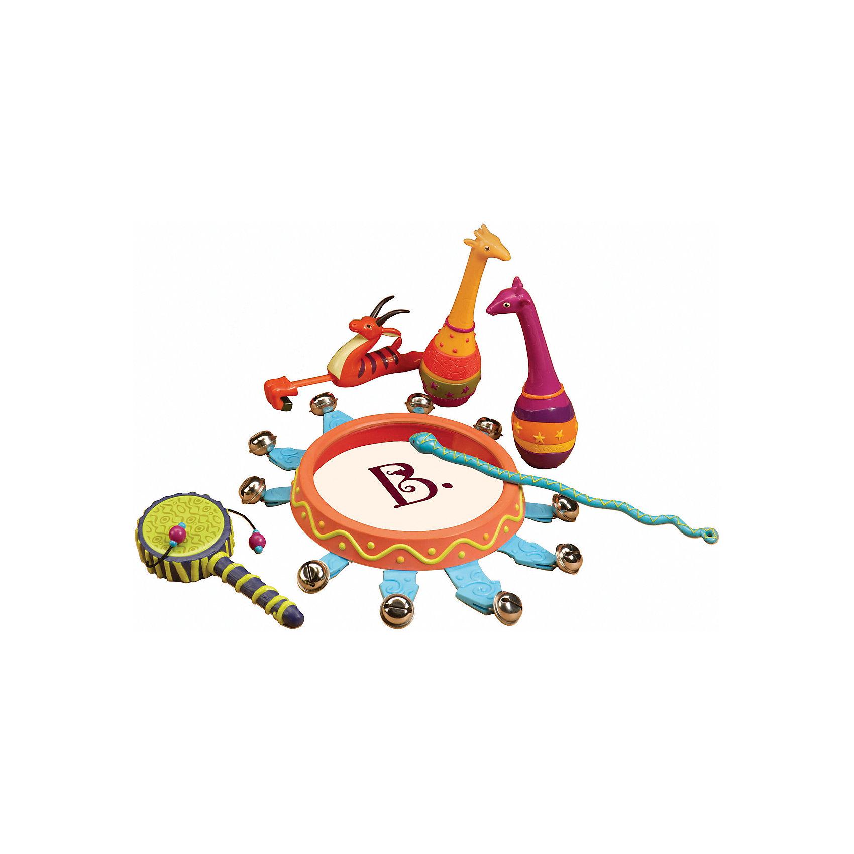 Набор погремушек Мелодия джунглей, B DOTПогремушки<br>Набор погремушек Мелодия джунглей, B DOT (Би Дот) из серии музыкальных инструментов от канадского торгового бренда B DOT. Набор выполнен из экологичсеки безопасного пластика, окрашенного в яркие цвета, предназначен для детей от 2-х лет. <br>Набор погремушек Мелодия джунглей, B DOT (Би Дот) состоит из струнных, ударных, клавишных и духовых инструментов. Всего их в комплекте 13. Все инструменты выполнены в форме животных джунглей. Данный набор позволит познакомиться ребенку с различными видами инструментов и научит различать их звучание.<br>Набор погремушек Мелодия джунглей, B DOT (Би Дот) способствует формированию музыкального слуха и чувства ритма, развивает координацию движений и слуховое восприятие у ребенка.<br><br>Дополнительная информация:<br><br>- Вид игр: развивающие<br>- Предназначение: для дома, для детского сада<br>- Материал: пластик<br>- Комплектация: кото, кларнет, скрипка, флейта, туба, пианино, труба,  барабаны, кслофон, тарелки, аккордеон, гитара и ситар, картонная упаковка с пластиковой ручкой. <br>- Размеры (Д*Ш*В): 35,5*9*28 см<br>- Вес всего набора: 900 г<br>- Пол: для мальчиков/для девочек<br>- Особенности ухода: можно мыть в теплой мыльной воде<br><br>Подробнее:<br><br>• Для детей в возрасте: от 2 лет <br>• Страна производитель: Китай<br>• Торговый бренд: B DOT<br><br>Набор погремушек Мелодия джунглей, B DOT (Би Дот)  можно купить в нашем интернет-магазине.<br><br>Ширина мм: 35<br>Глубина мм: 28<br>Высота мм: 9<br>Вес г: 900<br>Возраст от месяцев: 24<br>Возраст до месяцев: 2147483647<br>Пол: Унисекс<br>Возраст: Детский<br>SKU: 4871805