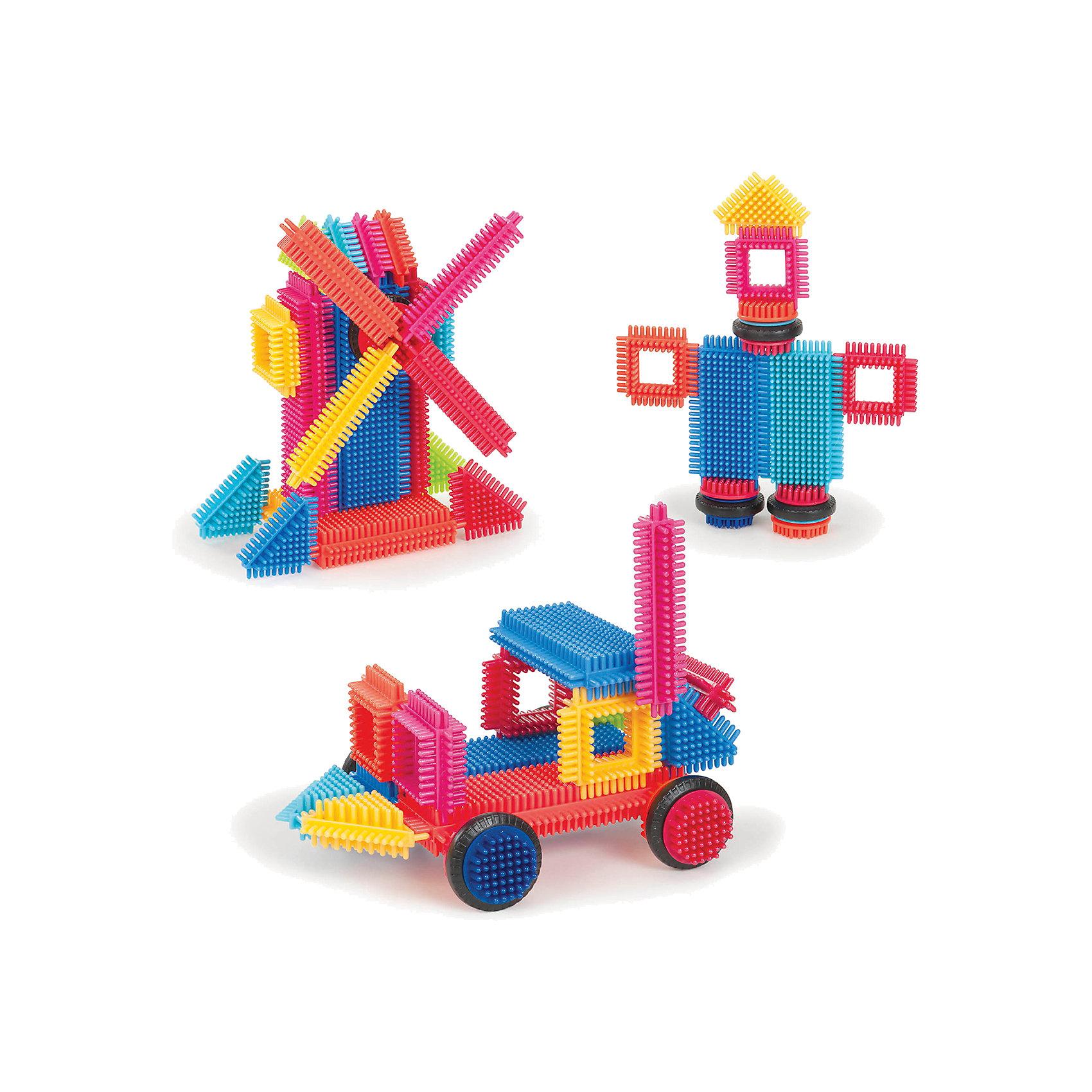 Конструктор игольчатый в коробке, 36 деталей, Bristle BlocksПластмассовые конструкторы<br>Конструктор игольчатый в коробке, 36 деталей, Bristle Blocks, Battat – оригинальный конструктор от канадского кампании Battat. Оригинальность конструктора заключается в его форме: все элементы имеют игольчатую поверхность. Так называемые, иголки абсолютно безопасны, они имеют закругленную форму. Кроме того, иголки являются способом закрепления деталей конструктора между собой. Набор выполнен из экологически безопасного пластика, окрашенного в яркие цвета, предназначен для детей от 2-х лет. Все элементы конструктора устойчивы к механическим повреждениям и изменению цвета.<br>Конструктор игольчатый в коробке, 36 деталей, Bristle Blocks, Battat состоит 36 разноцветных элементов, которые позволяют конструировать различные предметы, строения и фигуры. В комплекте имеются квадратные, треугольные, прямоугольные и круглые элементы. В комплекте имеется инструкция по сборке конструктора. Конструктор упакован в картонную коробку. <br>Конструктор игольчатый в коробке, 36 деталей, Bristle Blocks, Battat способствует развитию координации движений, пространственному и логическому мышлению. Благодаря особенной форме конструктора, в процессе игры массируются подушечки пальчиков, что способствует развитию их чувствительности.<br><br>Дополнительная информация:<br><br>- Вид игр: конструирование<br>- Предназначение: для дома, для детского сада<br>- Материал: пластик в сочетании с латексом<br>- Комплектация: 36 элементов, буклет-инструкция<br>- Размеры (Д*Ш*В): 19,5*6,5*26 см<br>- Вес всего набора: 610 г<br>- Пол: для мальчиков/для девочек<br>- Особенности ухода: можно мыть в теплой мыльной воде<br><br>Подробнее:<br><br>• Для детей в возрасте: от 2 лет <br>• Страна производитель: Китай<br>• Торговый бренд: B DOT<br><br>Конструктор игольчатый в коробке, 36 деталей, Bristle Blocks, Battat  можно купить в нашем интернет-магазине.<br><br>Ширина мм: 26<br>Глубина мм: 19<br>Высота мм: 7<br>Вес г: 600<br>В