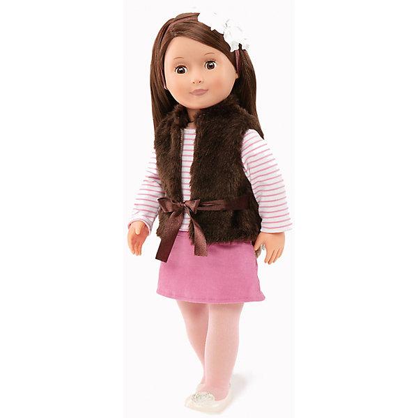 Кукла Сьена, 46 см, Our Generation DollsКуклы<br>Кукла Сьена, 46 см, Our Generation Dolls (Куклы нашего поколения) ? канадская торговая марка компании Battat, которая выпускает экологически безопасных кукол и аксессуары к ним. Куклы данного производителя отличаются выразительными взглядами, мягкими чертами лица. У них подвижные все части тела, глаза закрываются.<br>Сьена – брюнетка с длинними темными волосами и карими глазами. Одета в полосатую кофточку с длинным рукавом, розовую вельветовую юбку, белые туфли и белые колготки. Поверх кофты на Сьене коричневая меховая жилетка на завязках. На голове – белая повязка с цветком. Кукла Сьена непременно станет любимой куклой вашей девочки, особое удовольствие ей доставит делать прически из длинных волос или заплетать косы.<br>Кукла Сьена, 46 см, Our Generation Dolls (Куклы нашего поколения) упакована в подарочную картонную коробку. Играя в куклы, девочка учится заботиться о близких и быть внимательной. <br><br>Дополнительная информация:<br><br>- Вид игр: сюжетно-ролевые<br>- Предназначение: для дома<br>- Материал: пластик, текстиль<br>- Высота куклы: 46 см<br>- Вес: 1 кг 100 г<br>- Особенности ухода: разрешается мыть в теплой мыльной воде<br><br>Подробнее:<br><br>• Для детей в возрасте: от 3 лет<br>• Страна производитель: Китай<br>• Торговый бренд: Our Generation Dolls<br><br>Куклу Сьену, 46 см, Our Generation Dolls (Куклы нашего поколения) можно купить в нашем интернет-магазине.<br><br>Ширина мм: 26<br>Глубина мм: 13<br>Высота мм: 51<br>Вес г: 1500<br>Возраст от месяцев: 36<br>Возраст до месяцев: 2147483647<br>Пол: Унисекс<br>Возраст: Детский<br>SKU: 4871813